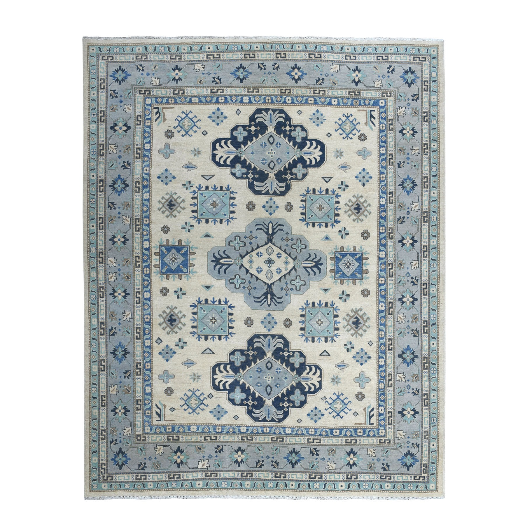 "8'x9'3"" Ivory Caucasian Vintage Look Kazak Pure Wool Tribal Design Hand Knotted Oriental Rug"