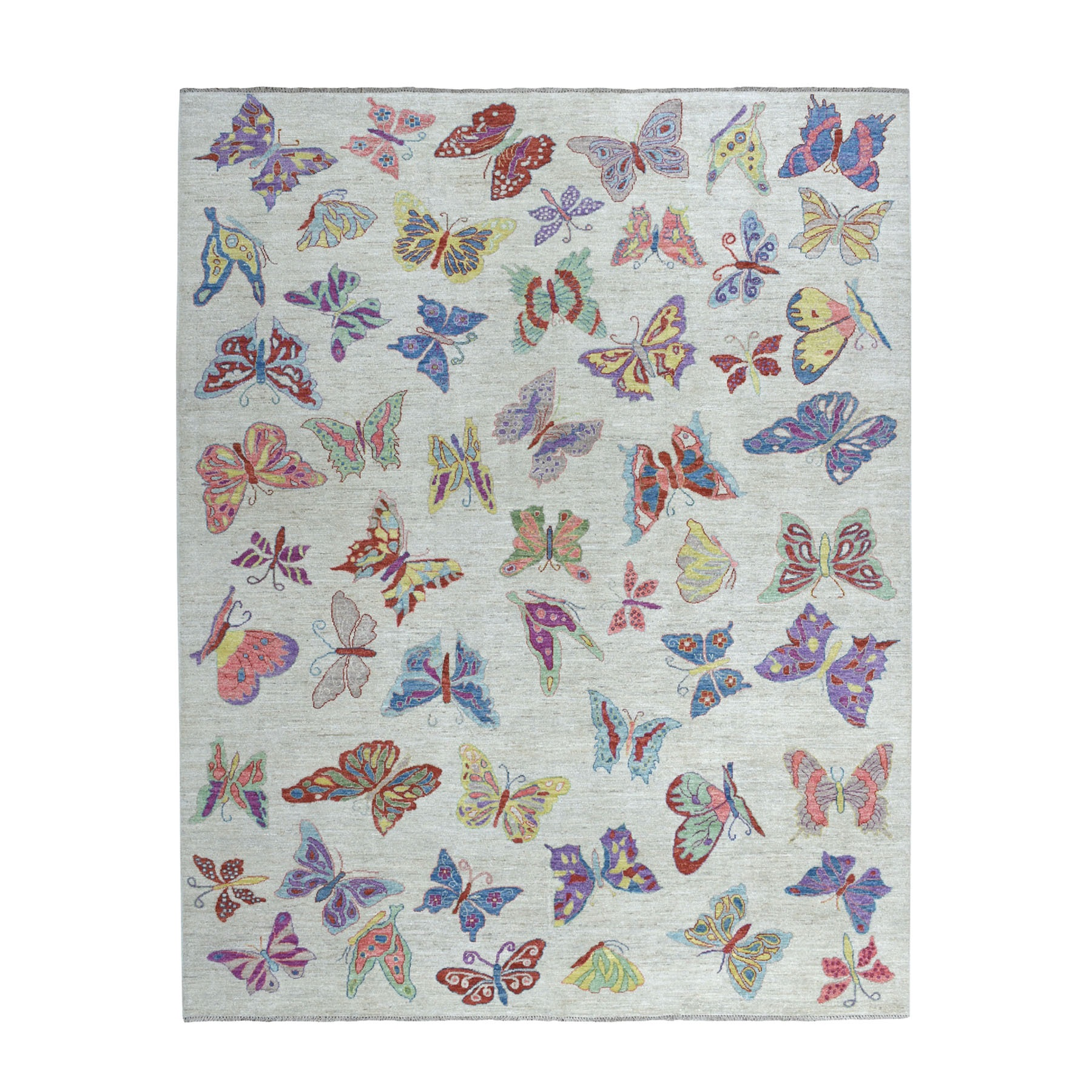 """8'X9'9"""" Peshawar With Butterflies Design Organic Wool Hand Knotted Oriental Rug moaed6c9"""