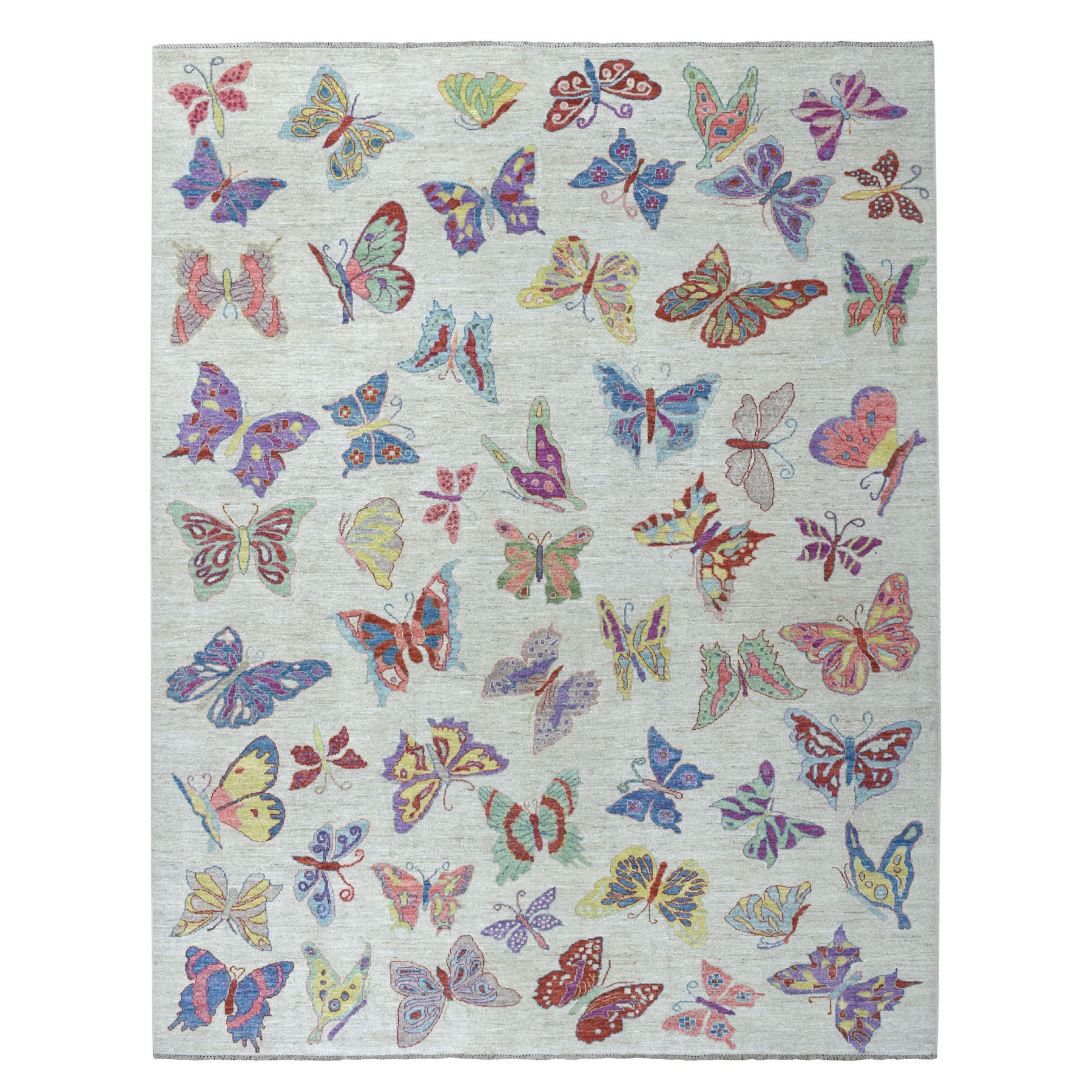 """9'2""""X11'9"""" Peshawar With Colorful Butterflies Design Organic Wool Hand Knotted Oriental Rug moaed6d0"""
