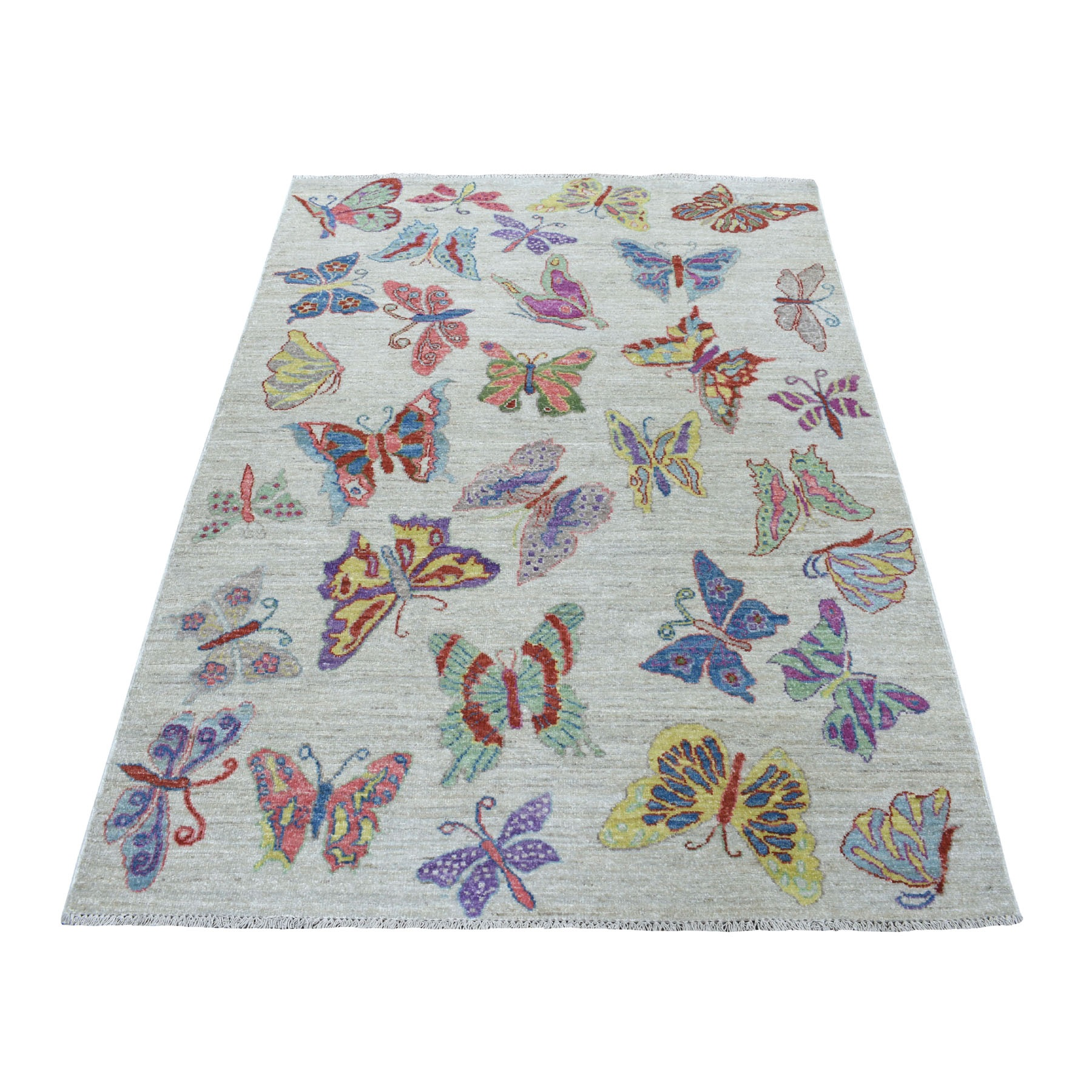 """4'1""""X6'  Peshawar With Colorful Butterflies Design Organic Wool Hand Knotted Oriental Rug moaed6da"""