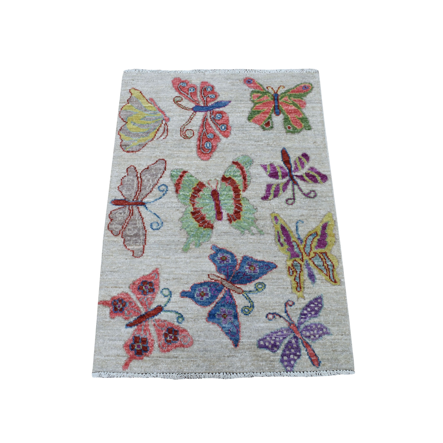 "2'1""x3' Peshawar With Colorful Butterflies Design Organic Wool Hand Knotted Oriental Rug"