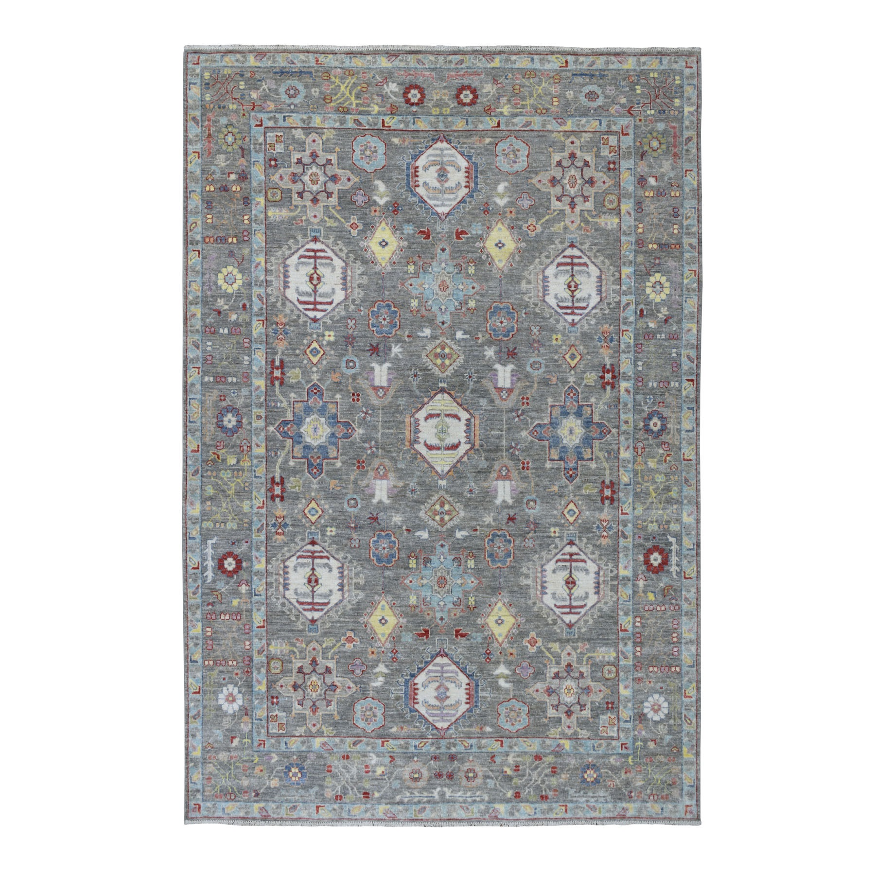 "6'2""x9'2"" Colorful Peshawar With Karajeh Design Pure Wool Hand Knotted Oriental Rug"