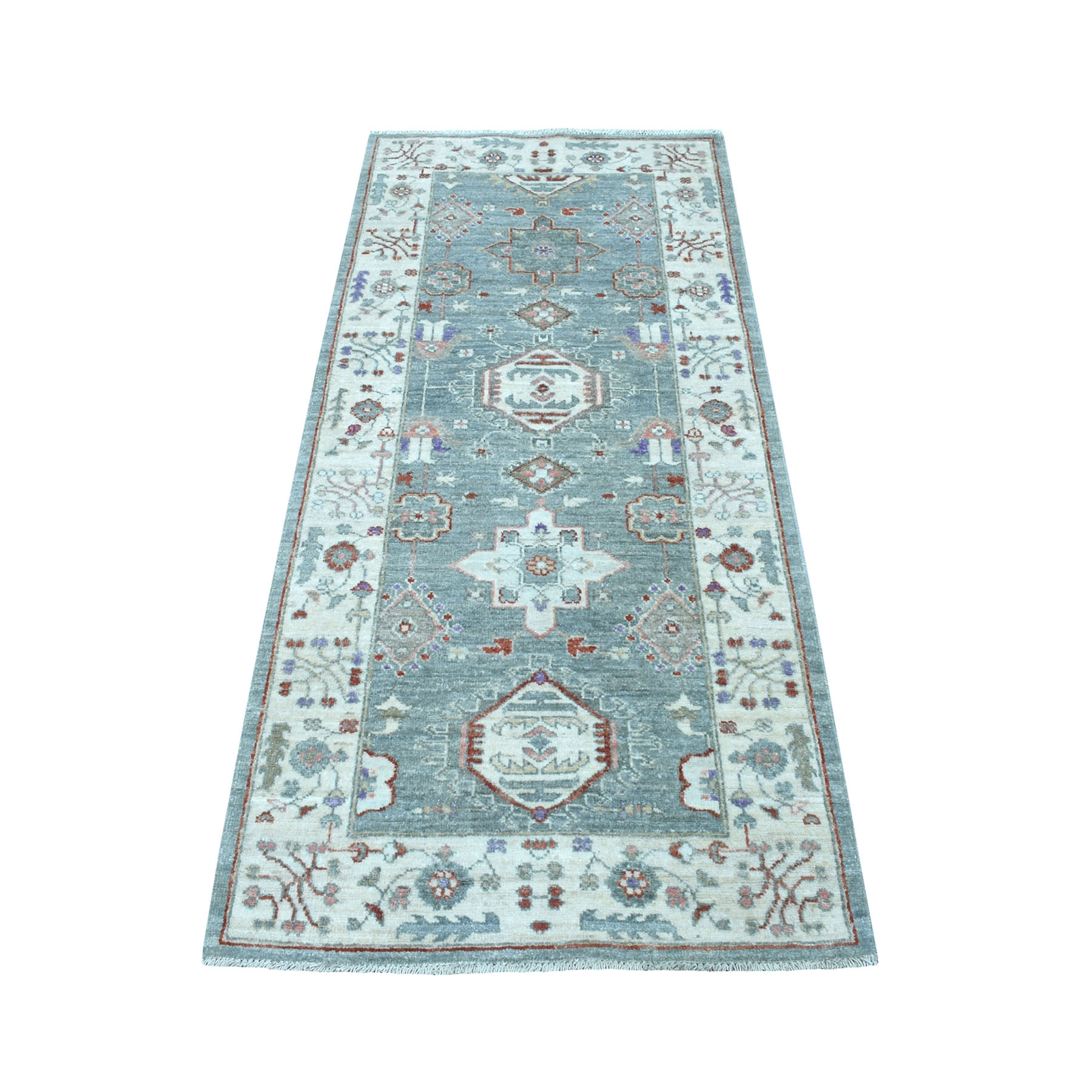 "2'8""x5'8"" Colorful Peshawar With Karajeh Design Natural Wool Runner Hand Knotted Oriental Rug"