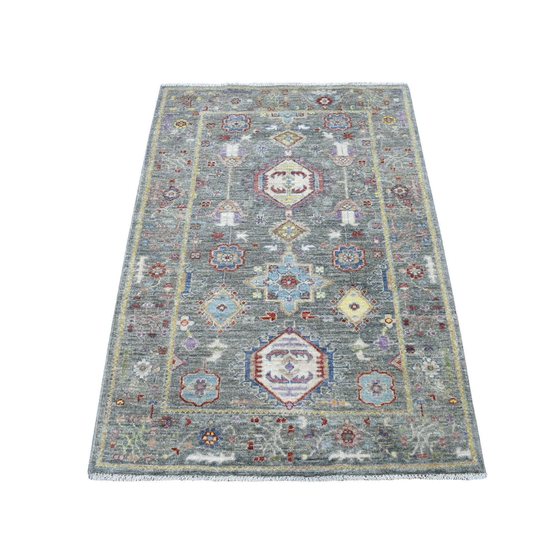 3'x5' Colorful Peshawar With Karajeh Design Pure Wool Hand Knotted Oriental Rug