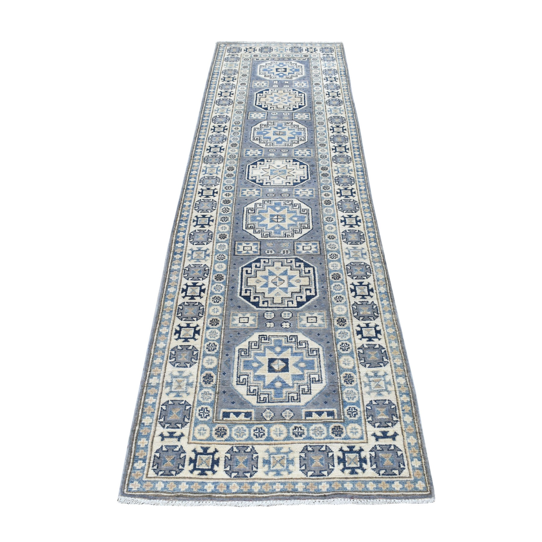 "2'7""X9'7"" Gray Organic Wool Vintage Look Kazak Hand Knotted Runner Oriental Rug moaed6e7"