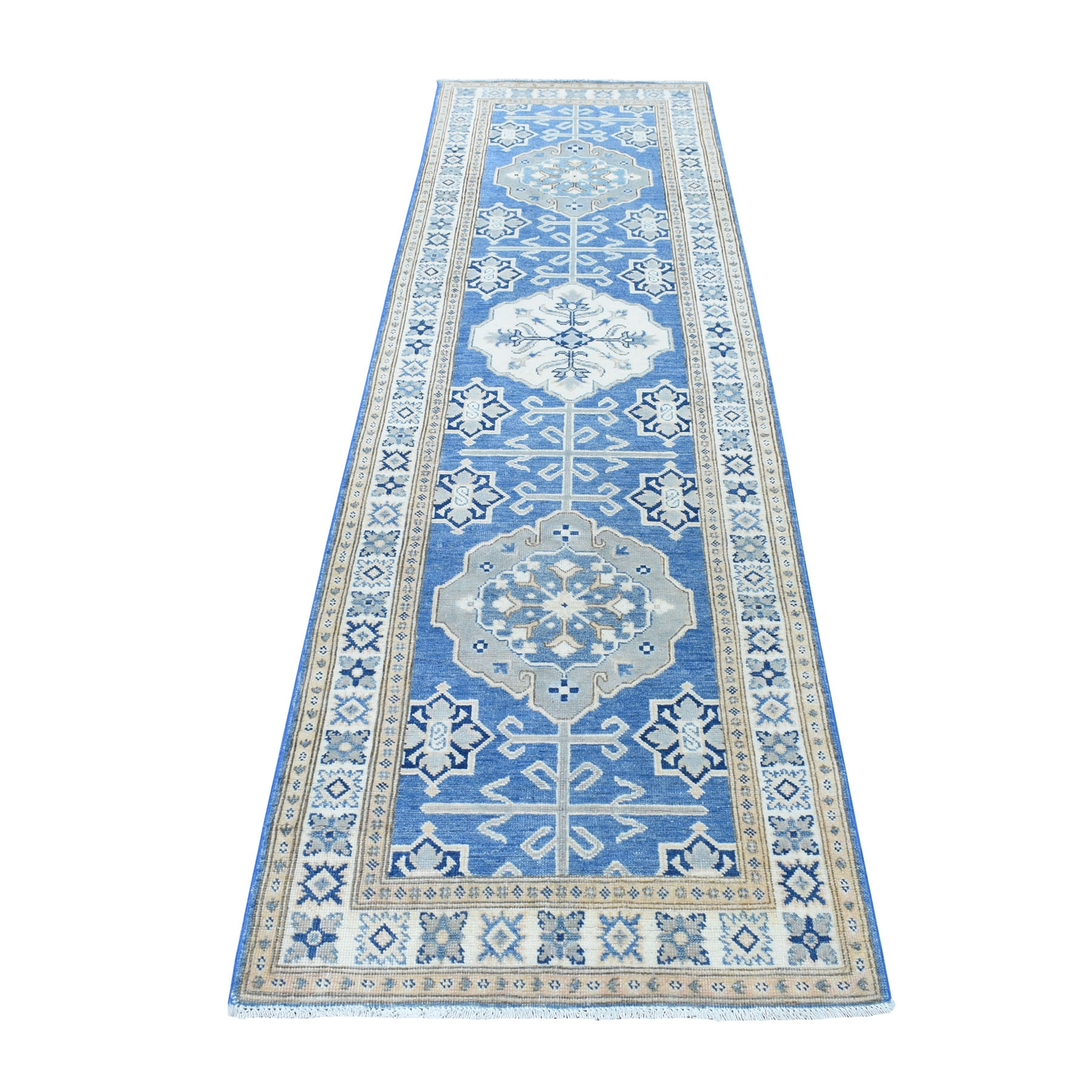 "2'8""X9'5"" Blue Organic Wool Vintage Look Kazak Hand Knotted Runner Oriental Rug moaed6e8"
