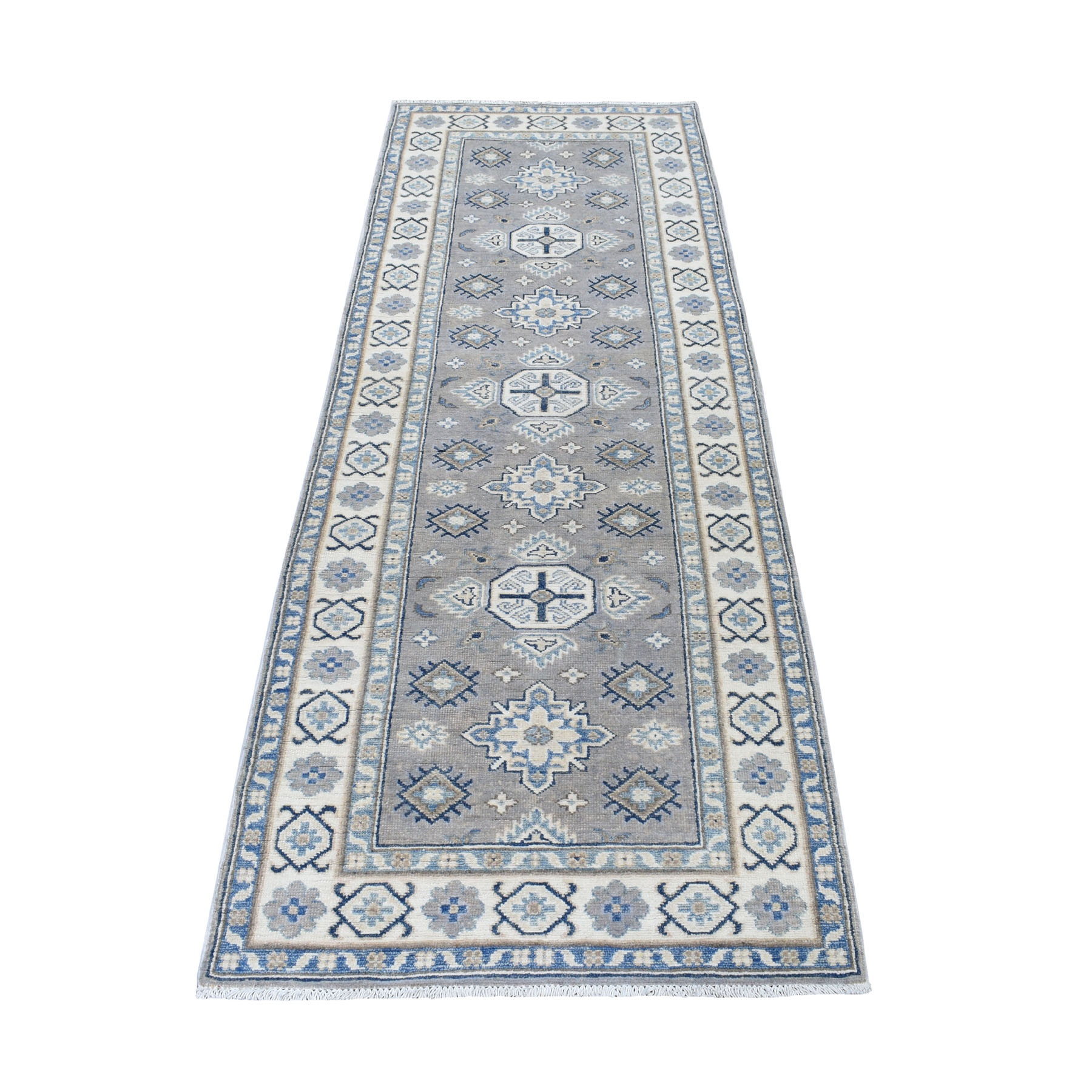 "2'9""X7'8"" Gray Hand Knotted Vintage Look Kazak Organic Wool Tribal Design Runner Oriental Rug moaed66a"