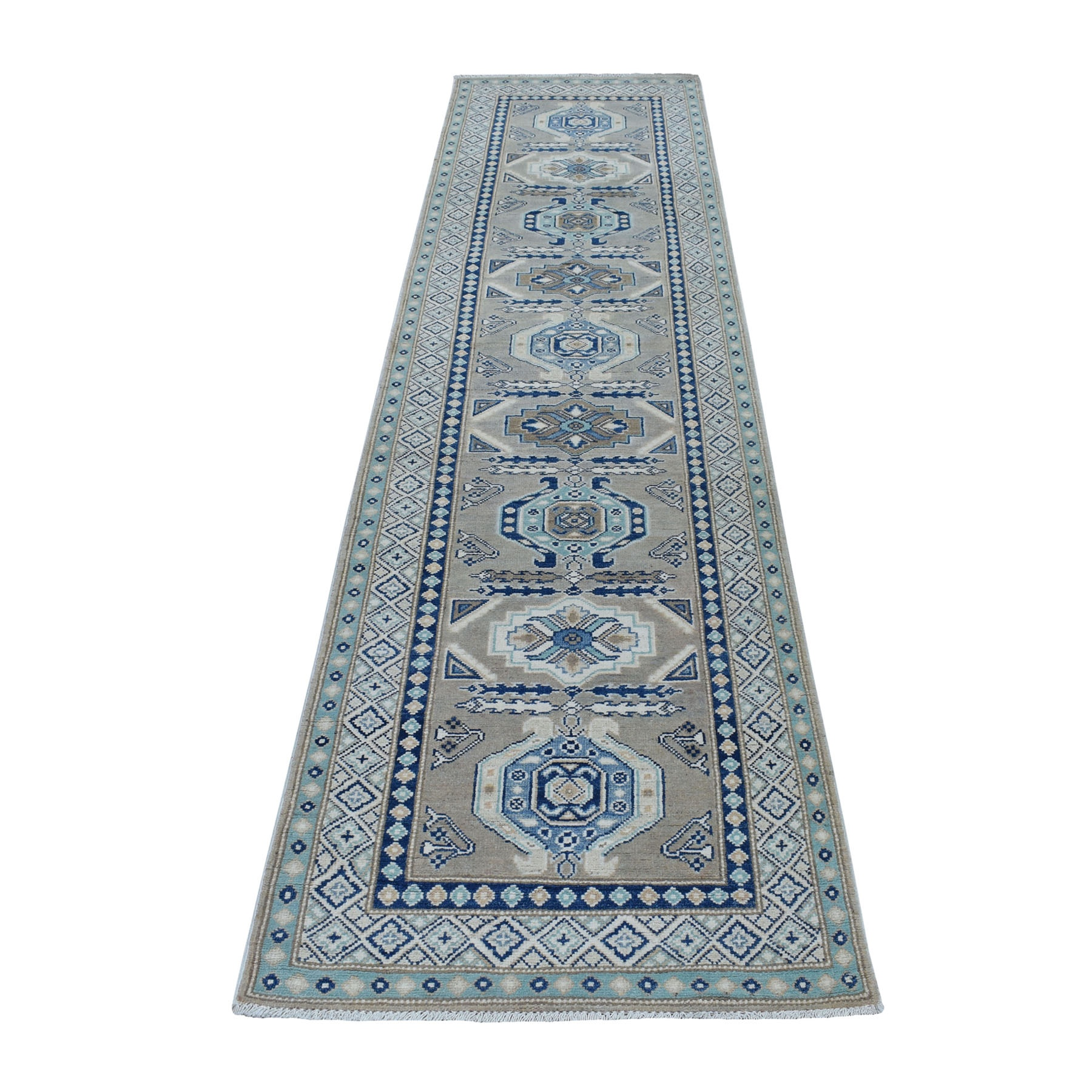 """2'6""""X9'9"""" Gray Caucasian Vintage Look Kazak Tribal Design Natural Wool Hand Knotted Runner Oriental Rug moaed68a"""