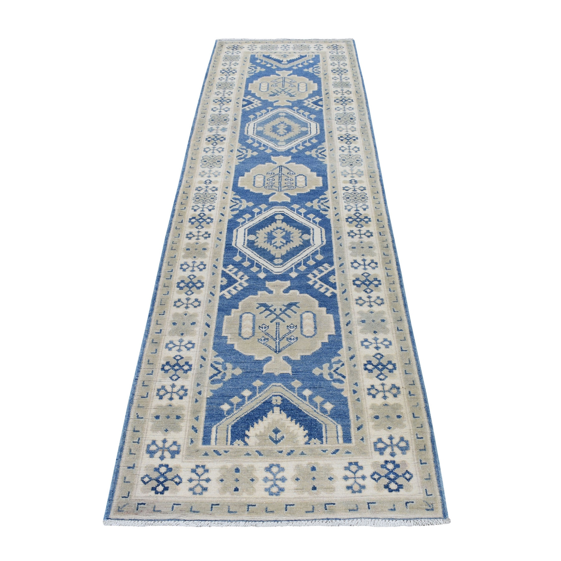 "2'8""X9'7"" Blue Vintage Look Kazak Tribal Design Pure Wool Hand Knotted Runner Oriental Rug moaed68c"