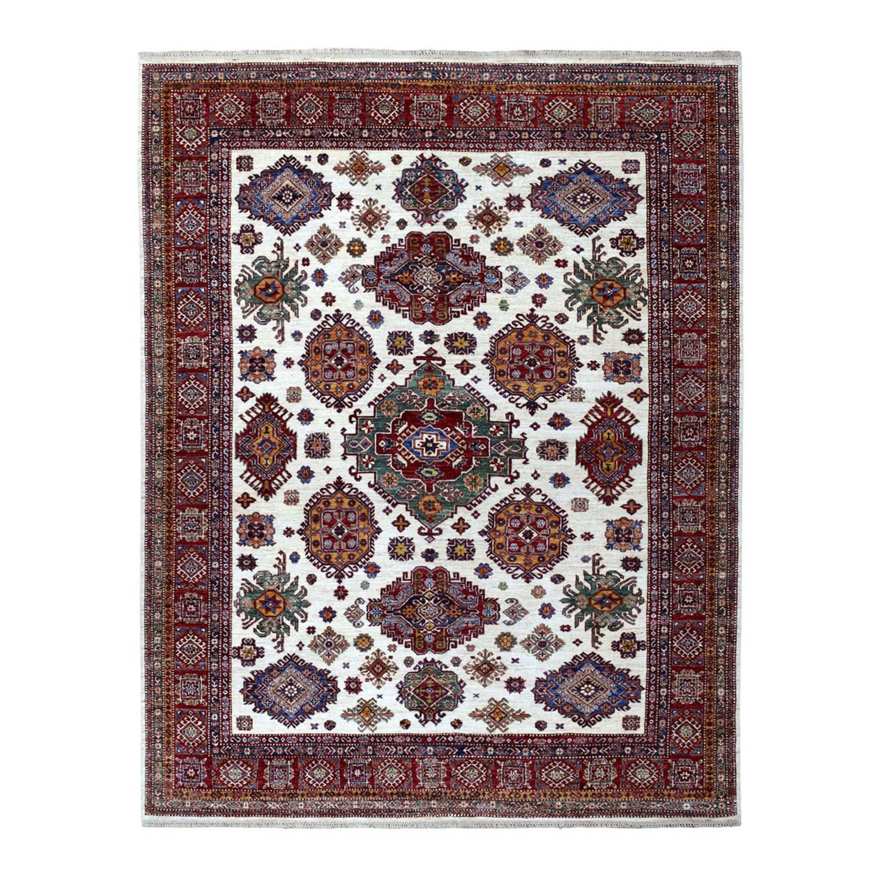 "8'x10'1""  Ivory Afghan Super Kazak Geometric Design Hand Knotted Pure Wool Oriental Rug"