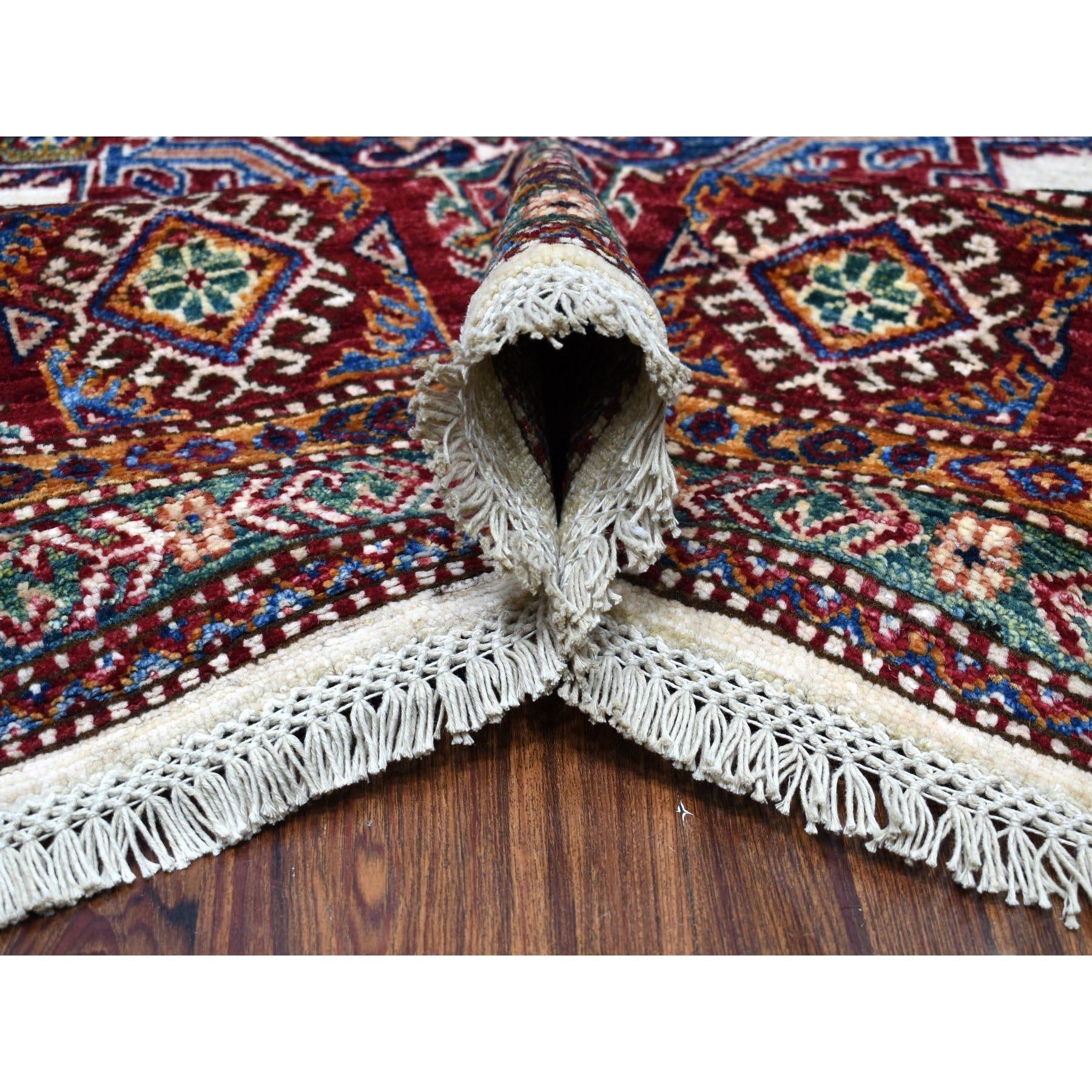 "8'x10'1""  Ivory Afghan Super Kazak Geometric Design Hand Knotted Pure Wool Oriental Rug"