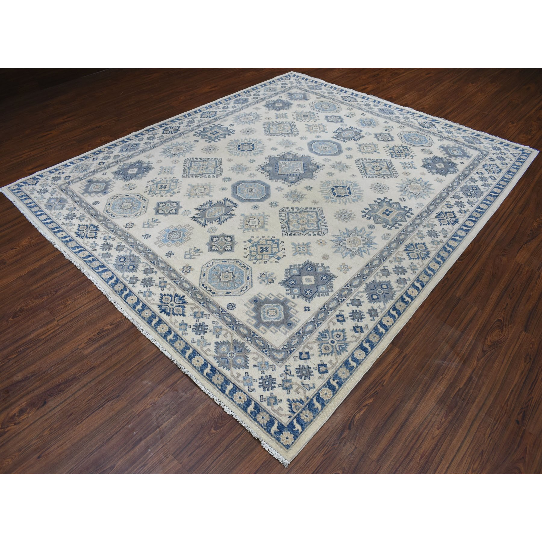 8-2 x9-7  Ivory All Over Design Caucasian Vintage Look Kazak Hand Knotted Pure Wool Oriental Rug