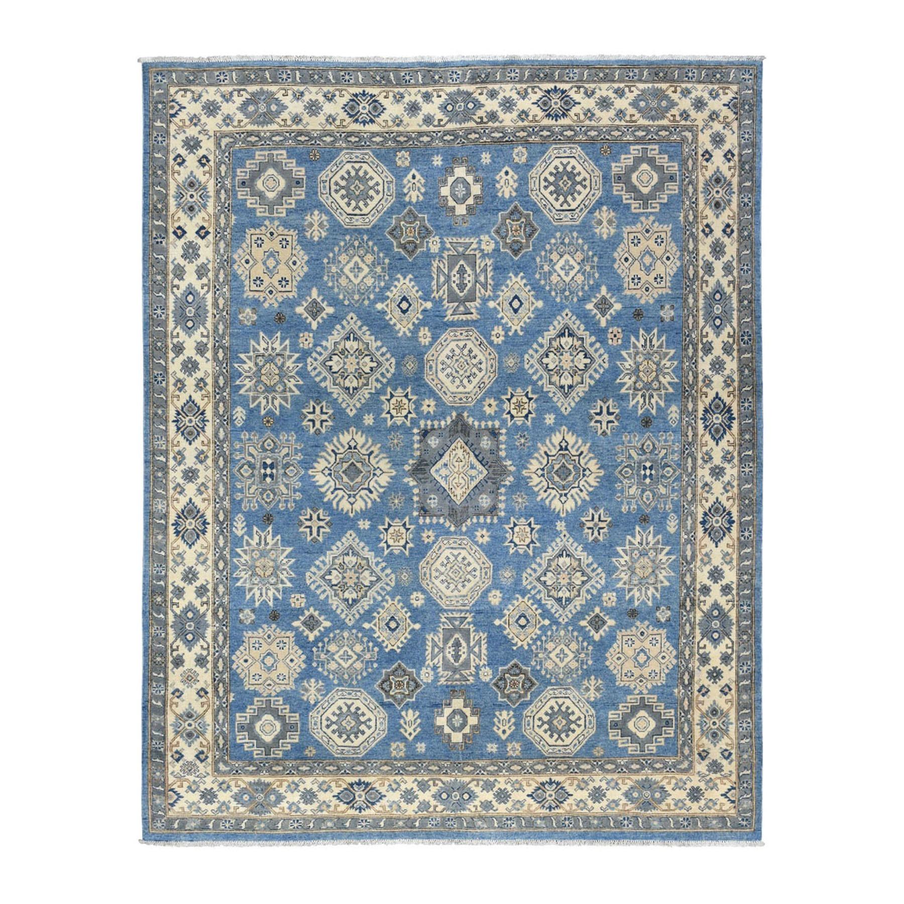 "8'x9'9"" Blue Afghan Vintage Look Kazak All Over Design Organic Wool Hand Knotted Oriental Rug 54778"