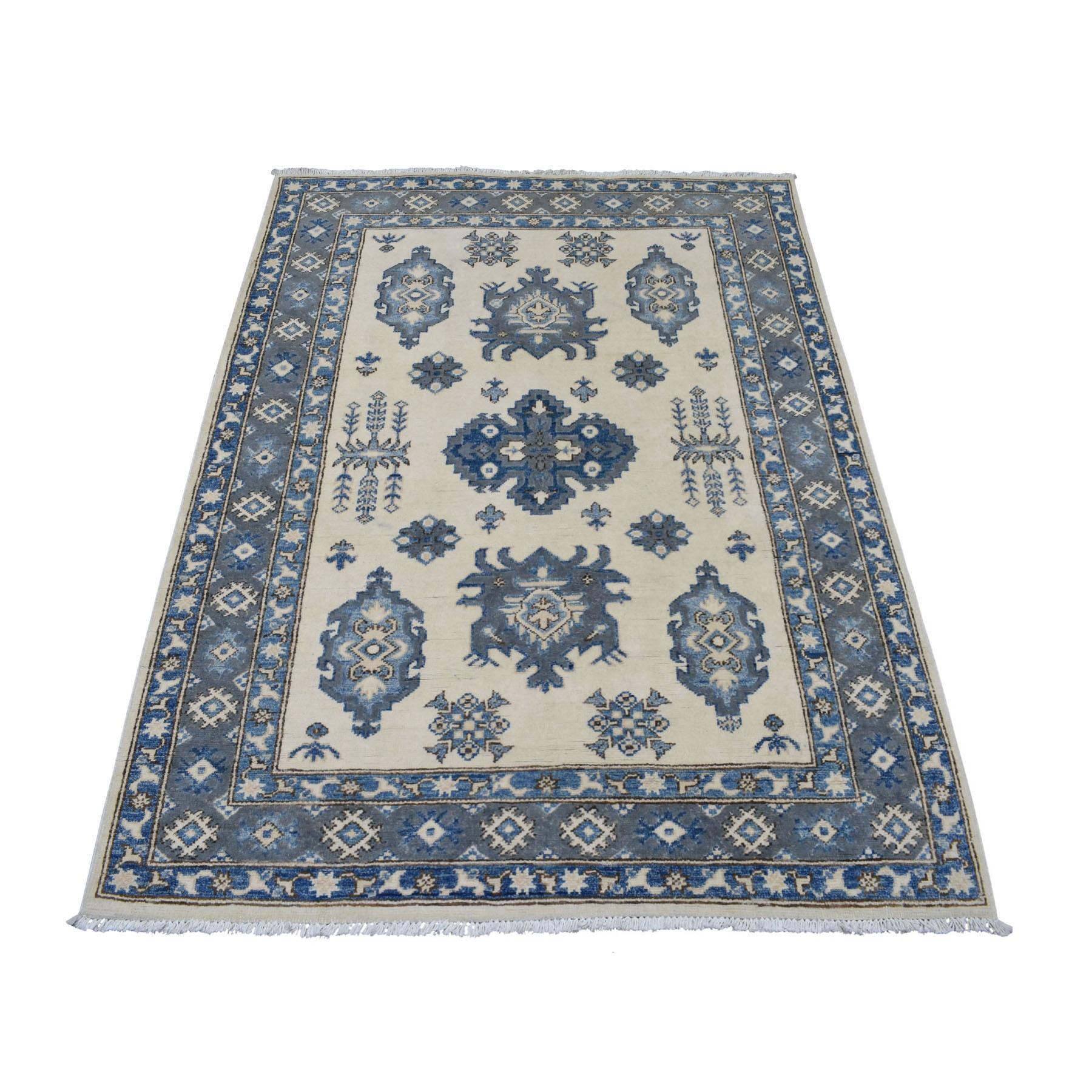 """3'10""""X5'3"""" Ivory Hand Knotted Afghan Vintage Look Kazak Natural Wool Oriental Rug moaed78b"""