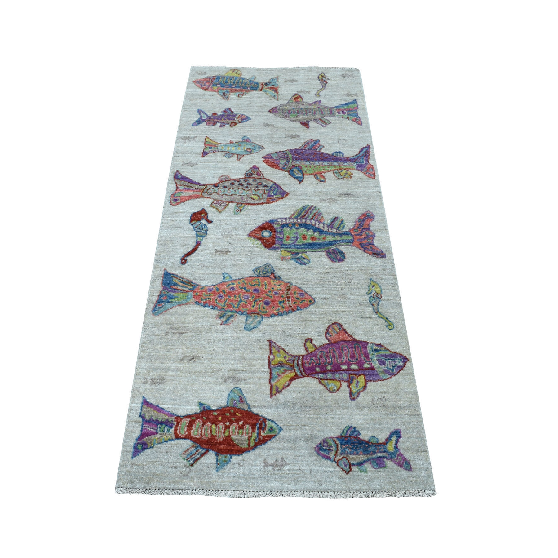 """2'6""""X6' Oceanic Fish Design Pure Wool Afghan Peshawar Hand Knotted Oriental Rug moaed79d"""
