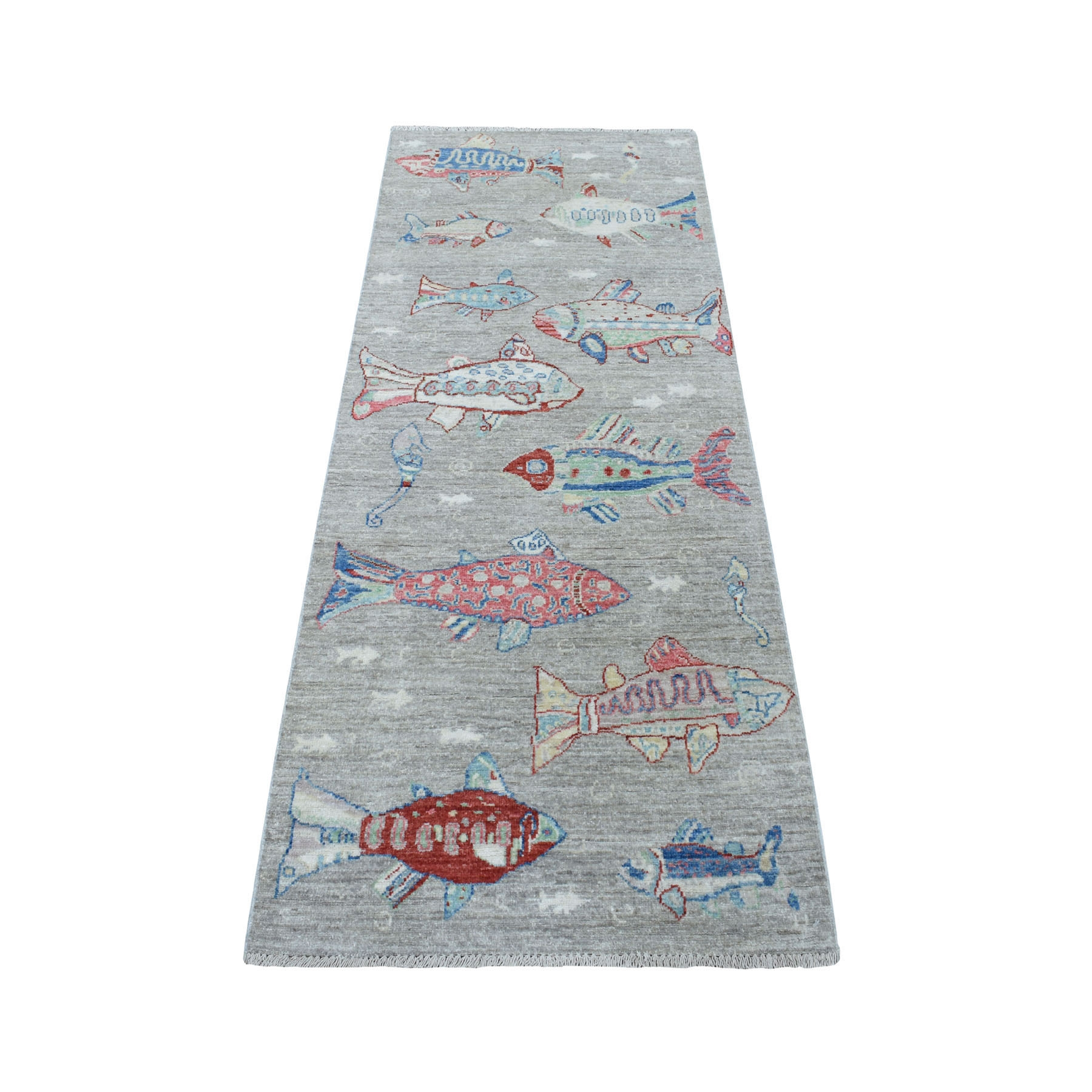 """2'5""""X6'2"""" Gray Oceanic Fish Design 100% Wool Afghan Peshawar Hand Knotted Oriental Rug moaed79e"""