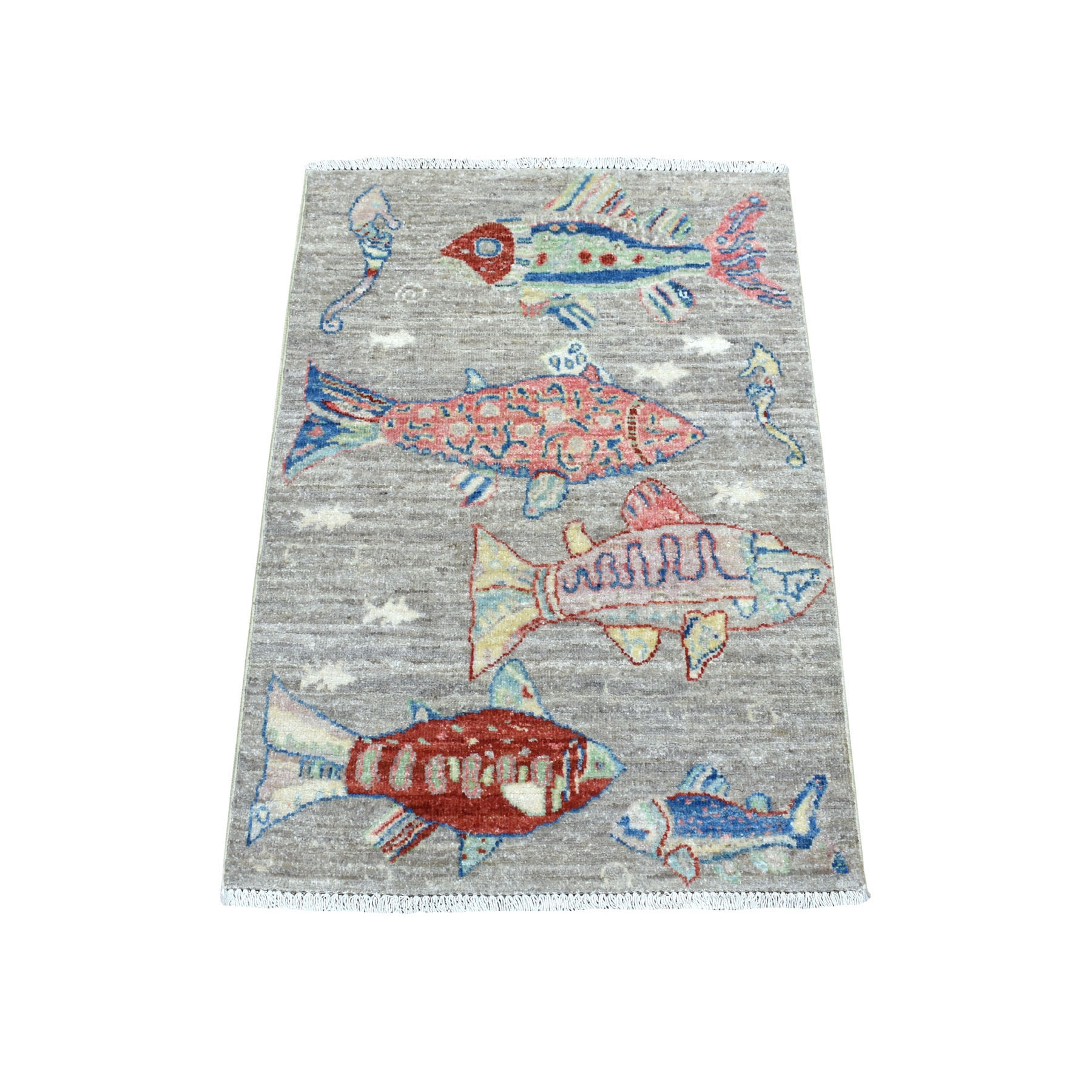 """2'1""""X3' Oceanic Fish Design Pure Wool Afghan Peshawar Hand Knotted Oriental Rug moaed798"""