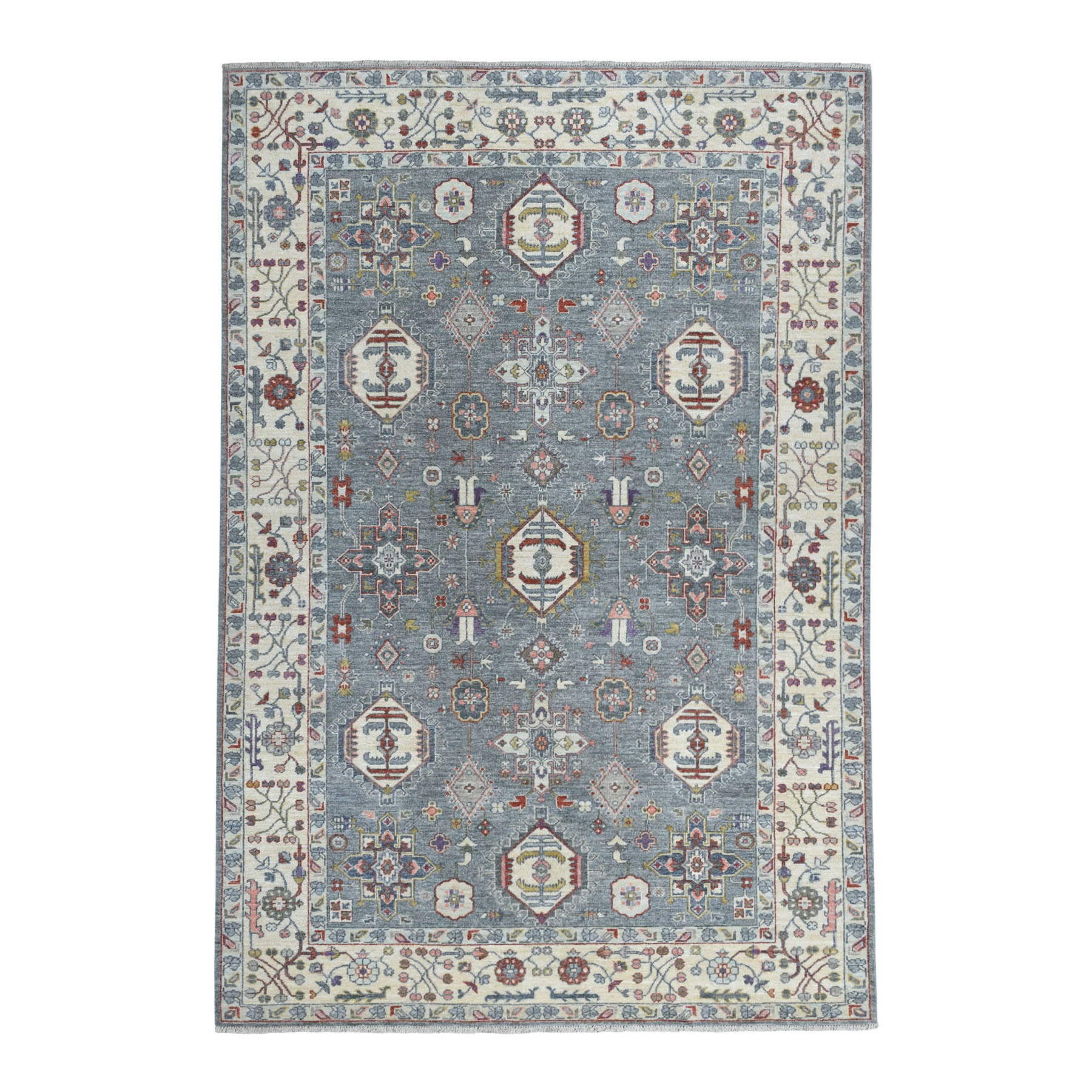 6-1 x9- Colorful Karajeh Design Afghani Wool Peshawar Hand Knotted Oriental Rug