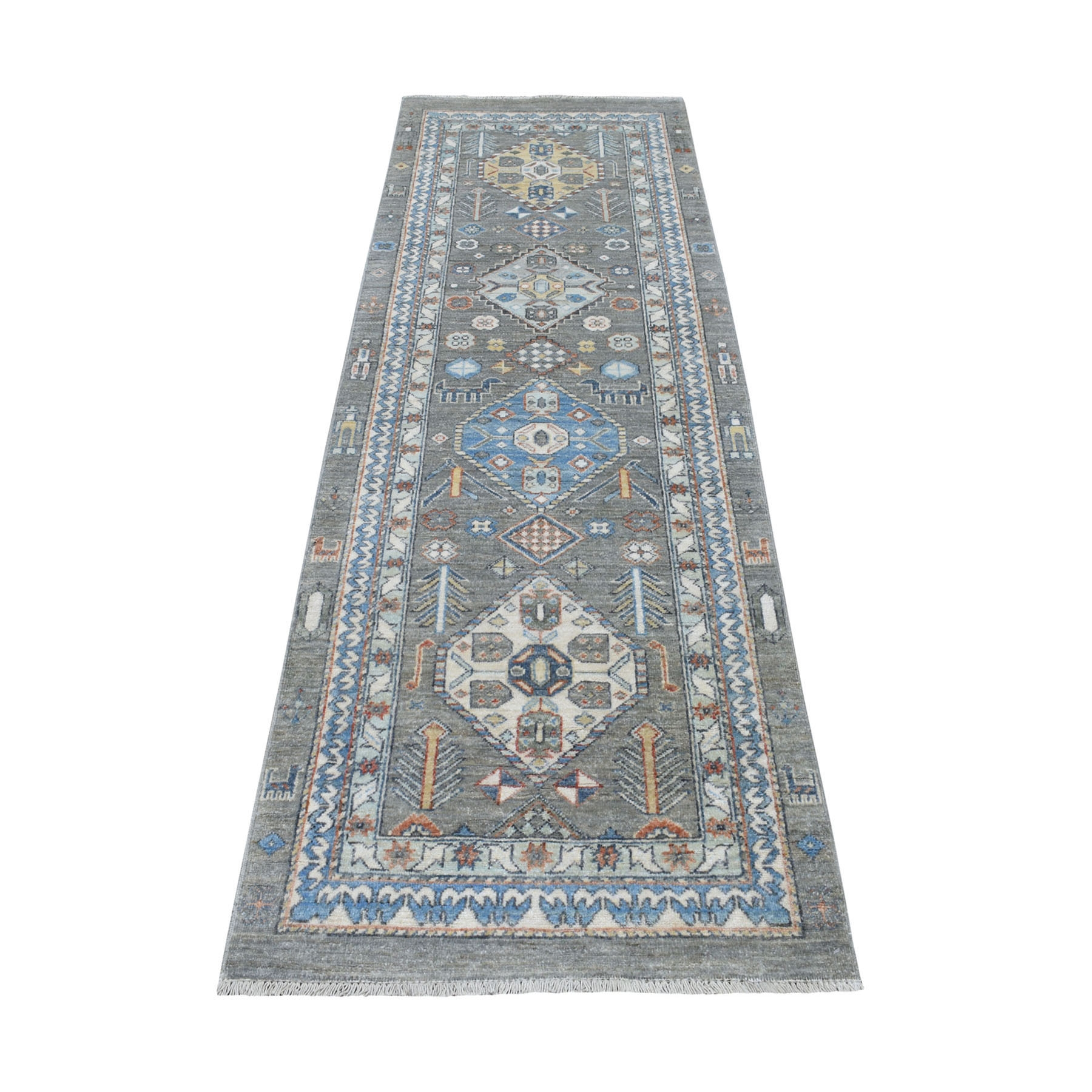 "2'6""X7'10"" Colorful Peshawar With Animals Design North West Runner Oriental Rug moaed8a0"