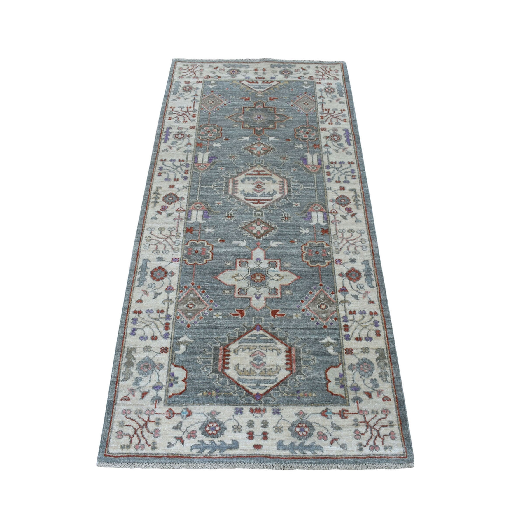 "2'8""X5'9"" Colorful Karajeh Design With Peshawar Pure Wool Runner Hand Knotted Oriental Rug moaed8ab"