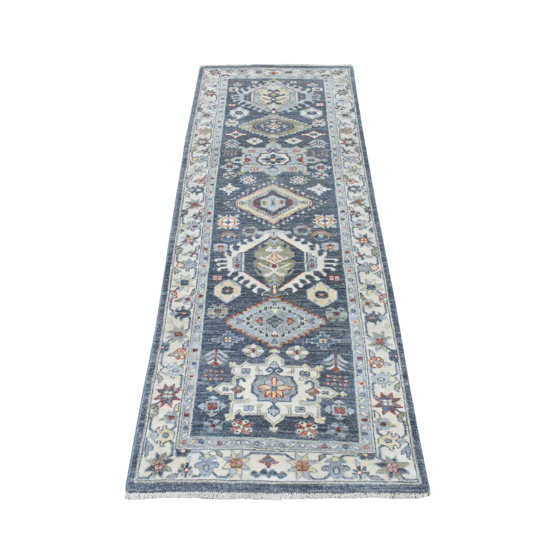 "2'5""X7'3"" Colorful Peshawar With Karajeh Design Natural Wool Runner Hand Knotted Oriental Rug moaed8ac"