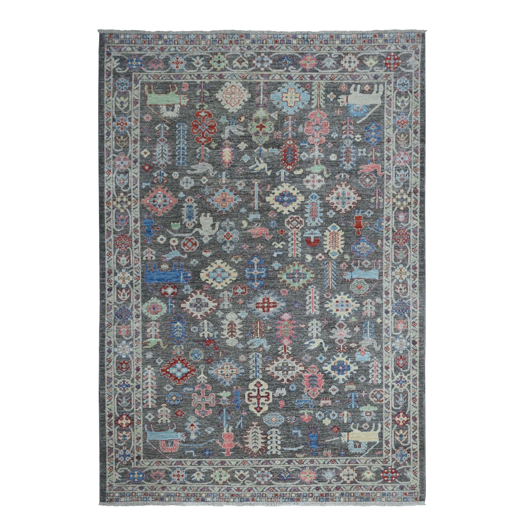 "6'1""X8'8"" Peshawar With Pop Of Color Ethnic Design Afghan Wool Hand Knotted Oriental Rug moaed8a8"