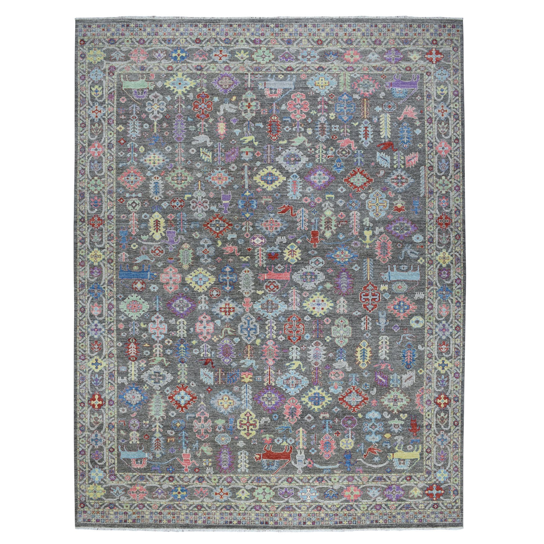 "9'1""X11'8"" Peshawar With Pop Of Color Ethnic Design Natural Wool Hand Knotted Oriental Rug moaed8a9"