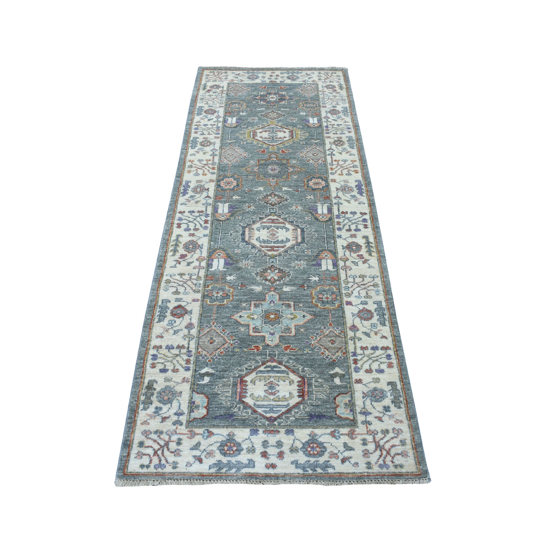 "2'7""X7'2"" Colorful Peshawar With Karajeh Design Pure Wool Runner Hand Knotted Oriental Rug moaed8b0"