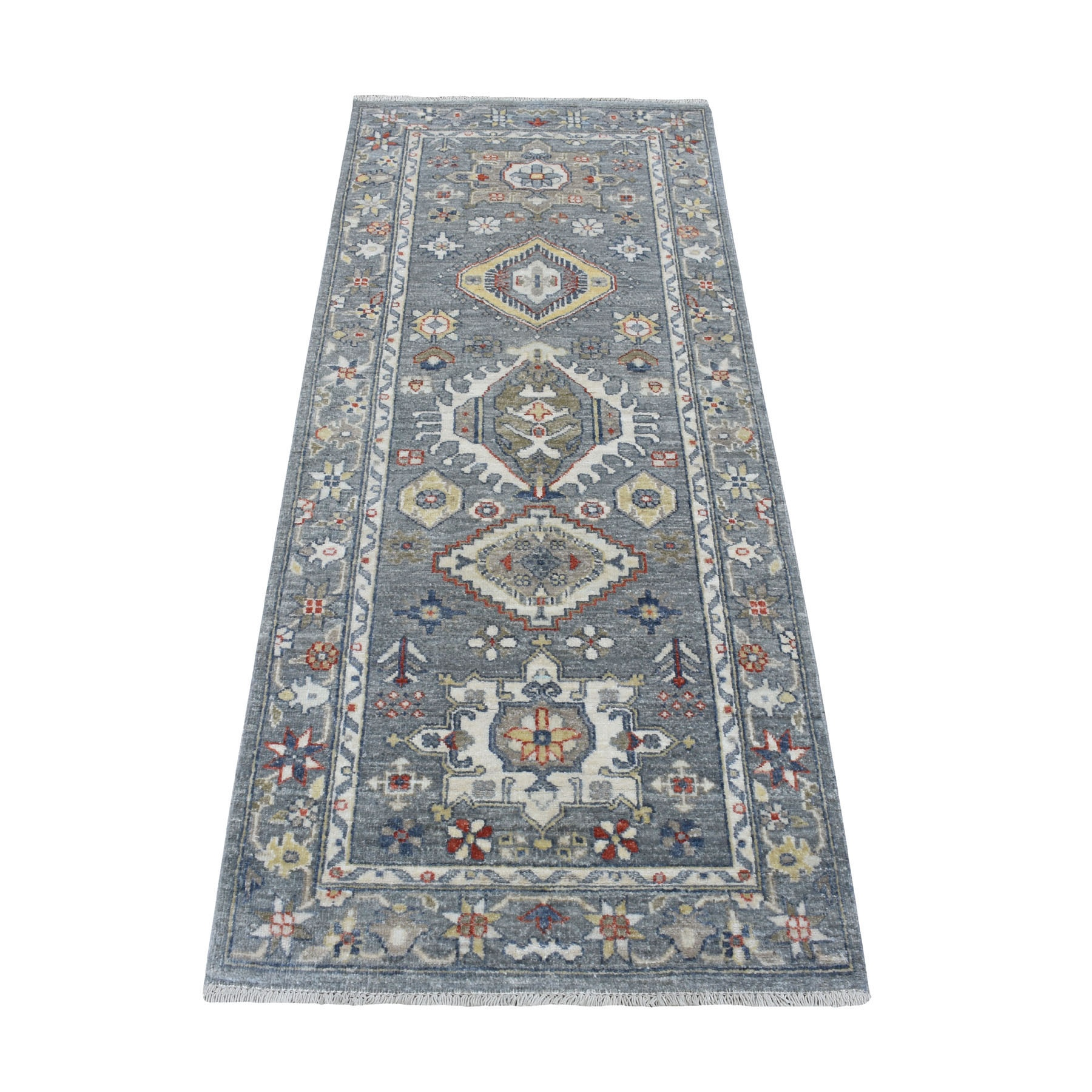 """2'6""""X6'1"""" Colorful Peshawar With Karajeh Design Natural Wool Hand Knotted Runner Oriental Rug moaed8ba"""