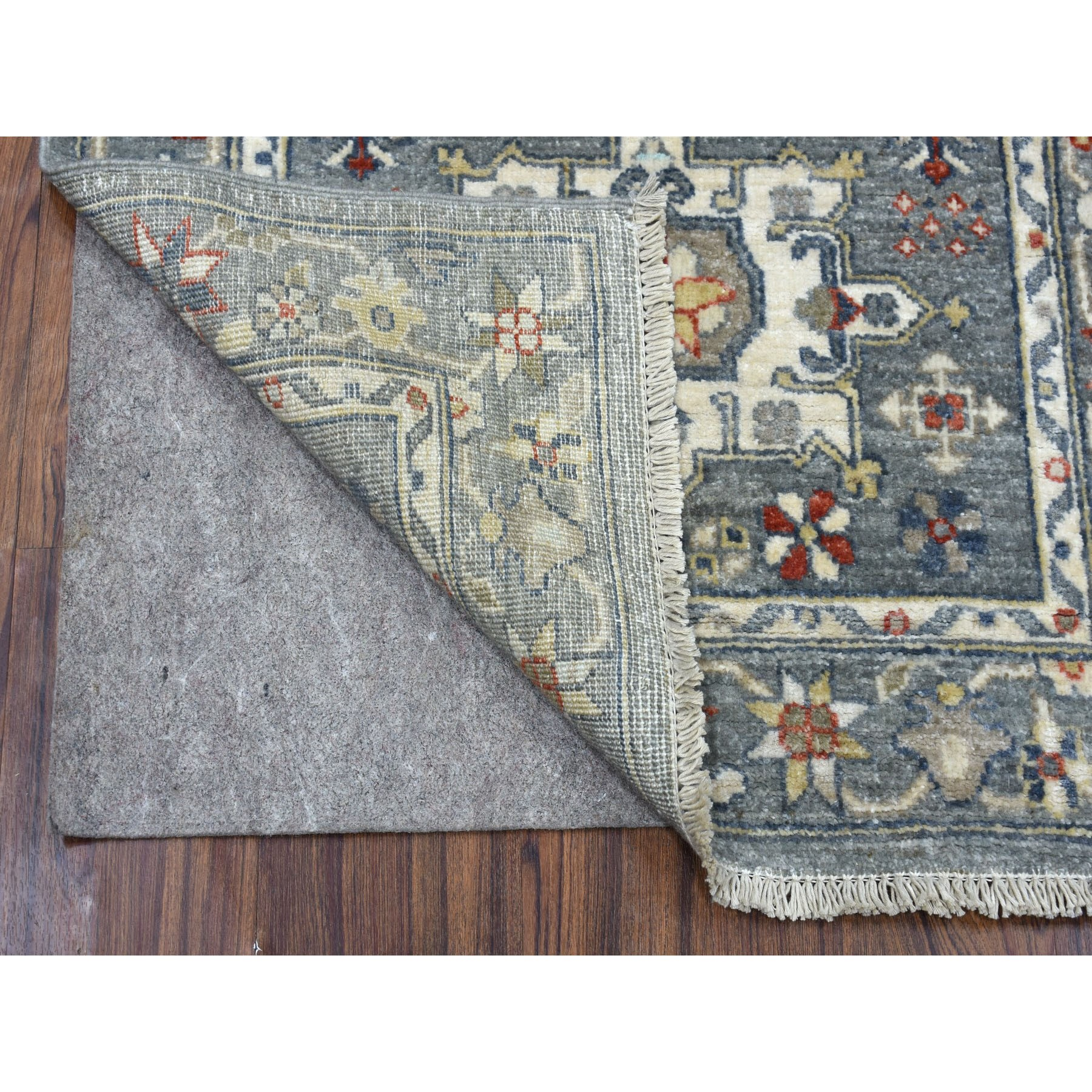 2-6 x6-1  Colorful Peshawar with Karajeh Design Natural Wool Hand Knotted Runner Oriental Rug