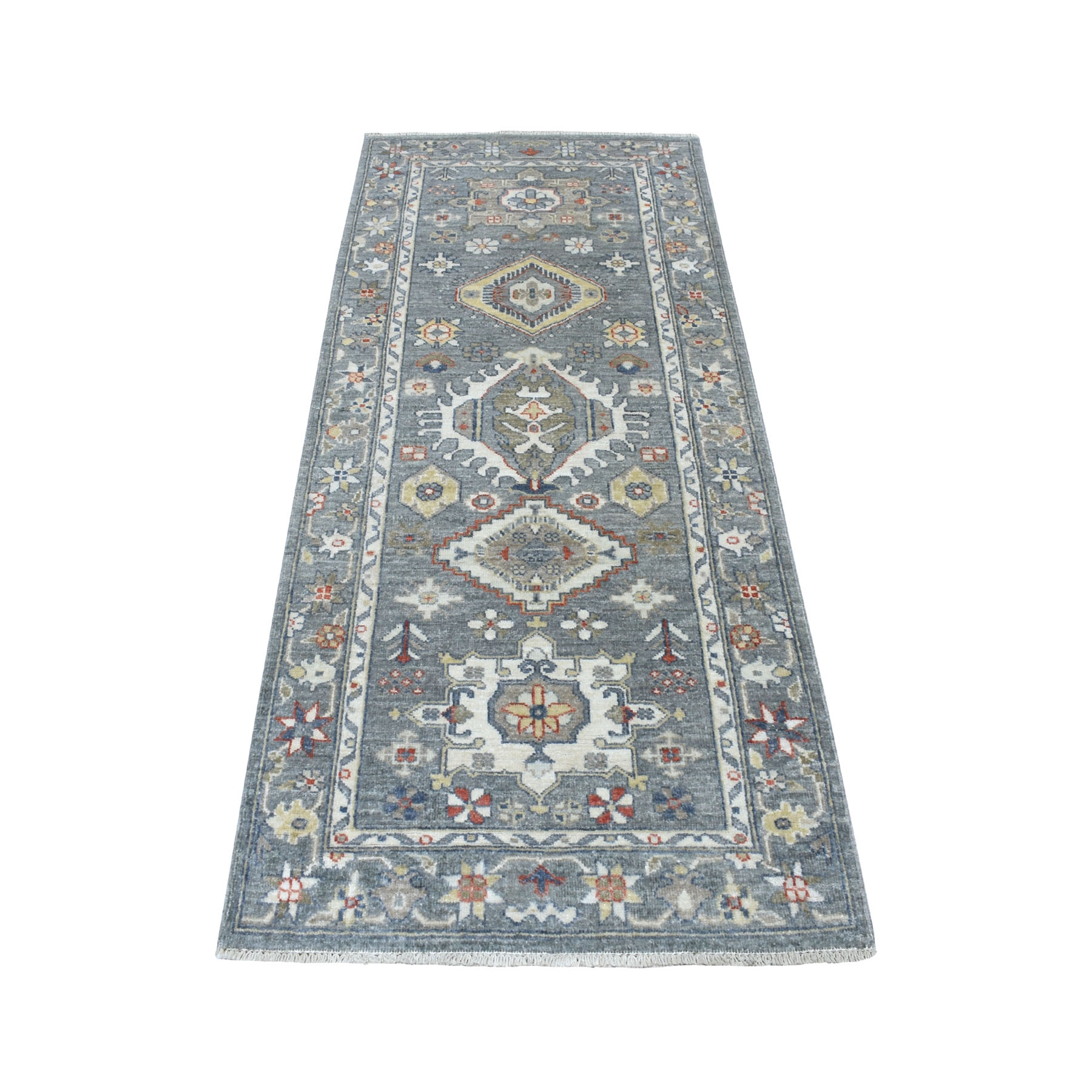 """2'7""""X6'1"""" Colorful Peshawar With Karajeh Design Natural Wool Hand Knotted Runner Oriental Rug moaed8bc"""