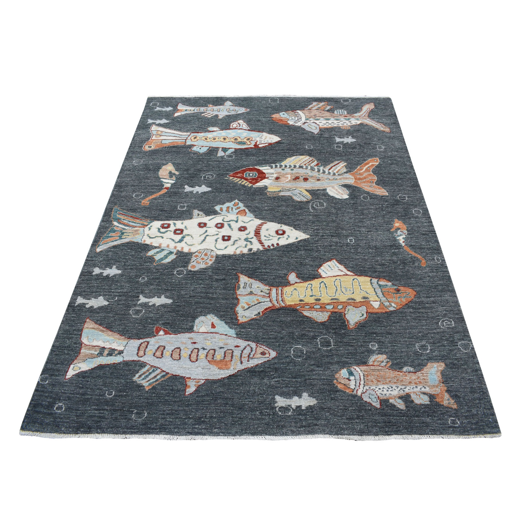 """5'X6'4"""" Charcoal Black Oceanic Fish Design Pure Wool Afghan Peshawar Hand Knotted Oriental Rug moaed8b6"""