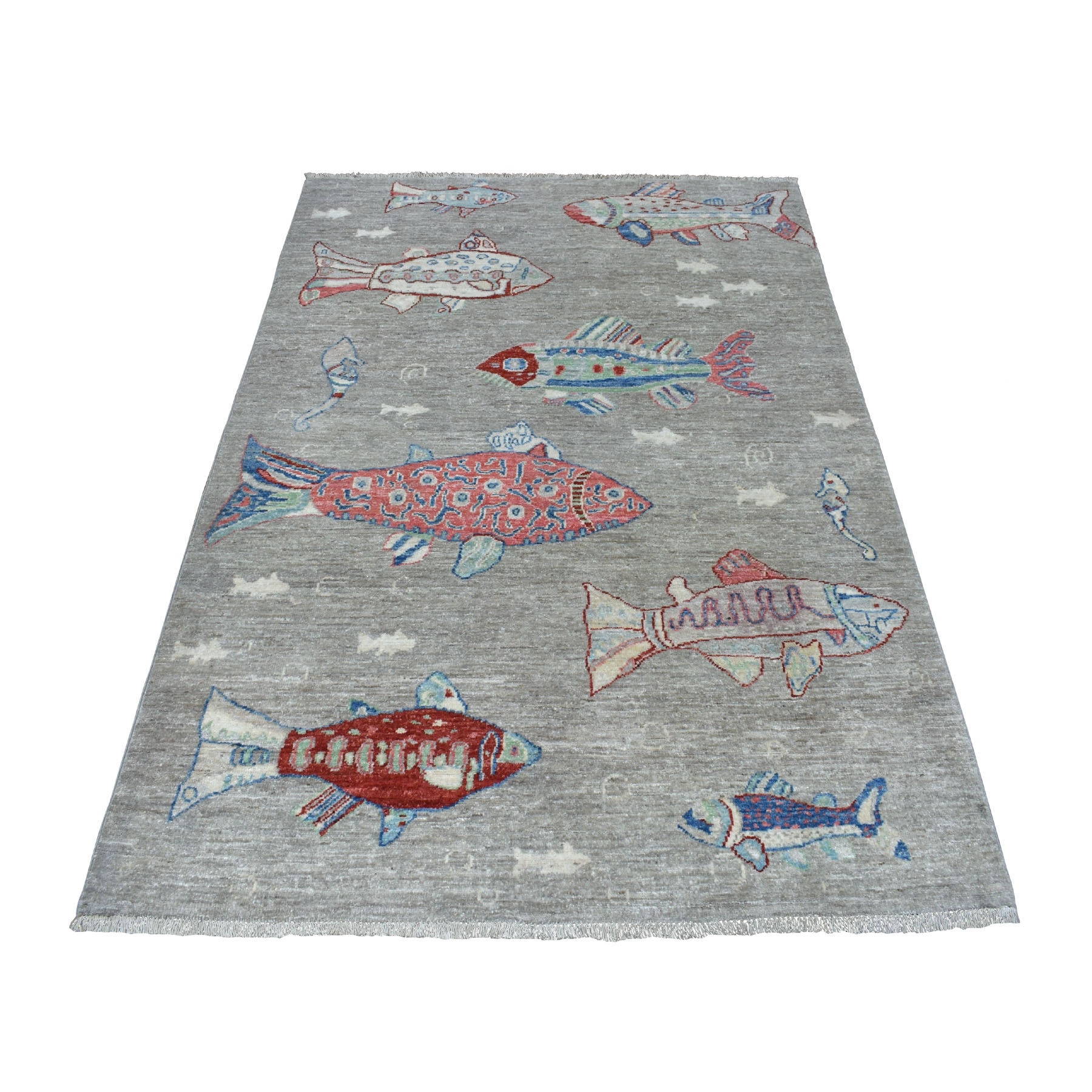 4'X6' Gray Oceanic Fish Design 100% Wool Afghan Peshawar Hand Knotted Oriental Rug moaed8b7