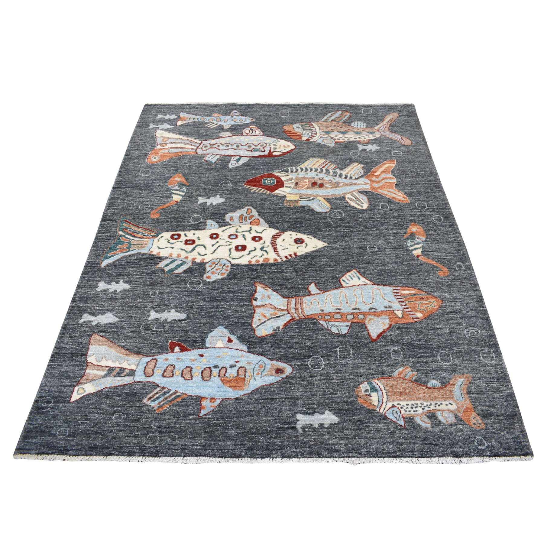 """5'1""""X6'6"""" Charcoal Black Oceanic Fish Design Pure Wool Afghan Peshawar Hand Knotted Oriental Rug moaed8b8"""