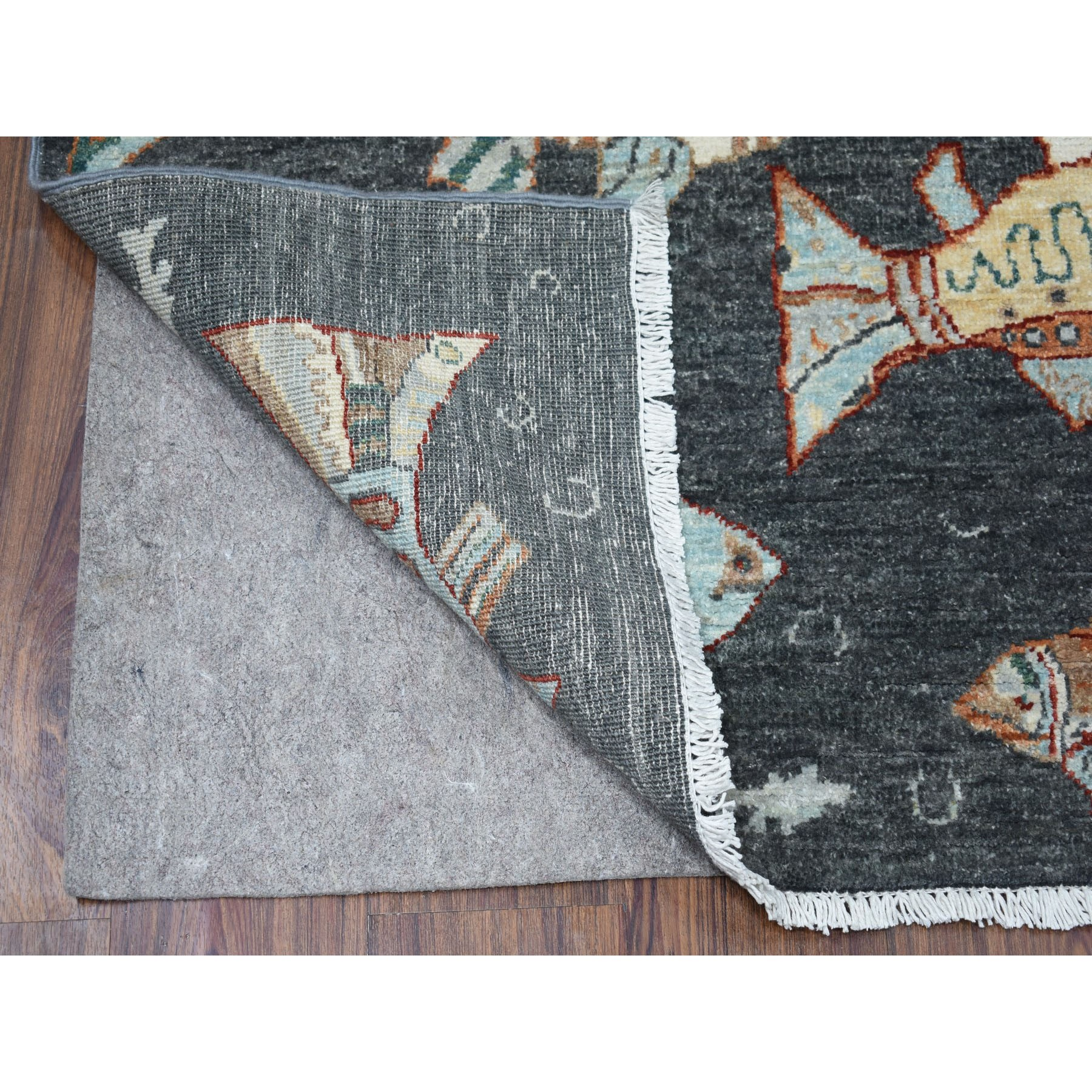 3-1 x4-8  Charcoal Black Oceanic Fish Design Pure Wool Afghan Peshawar Hand Knotted Oriental Rug
