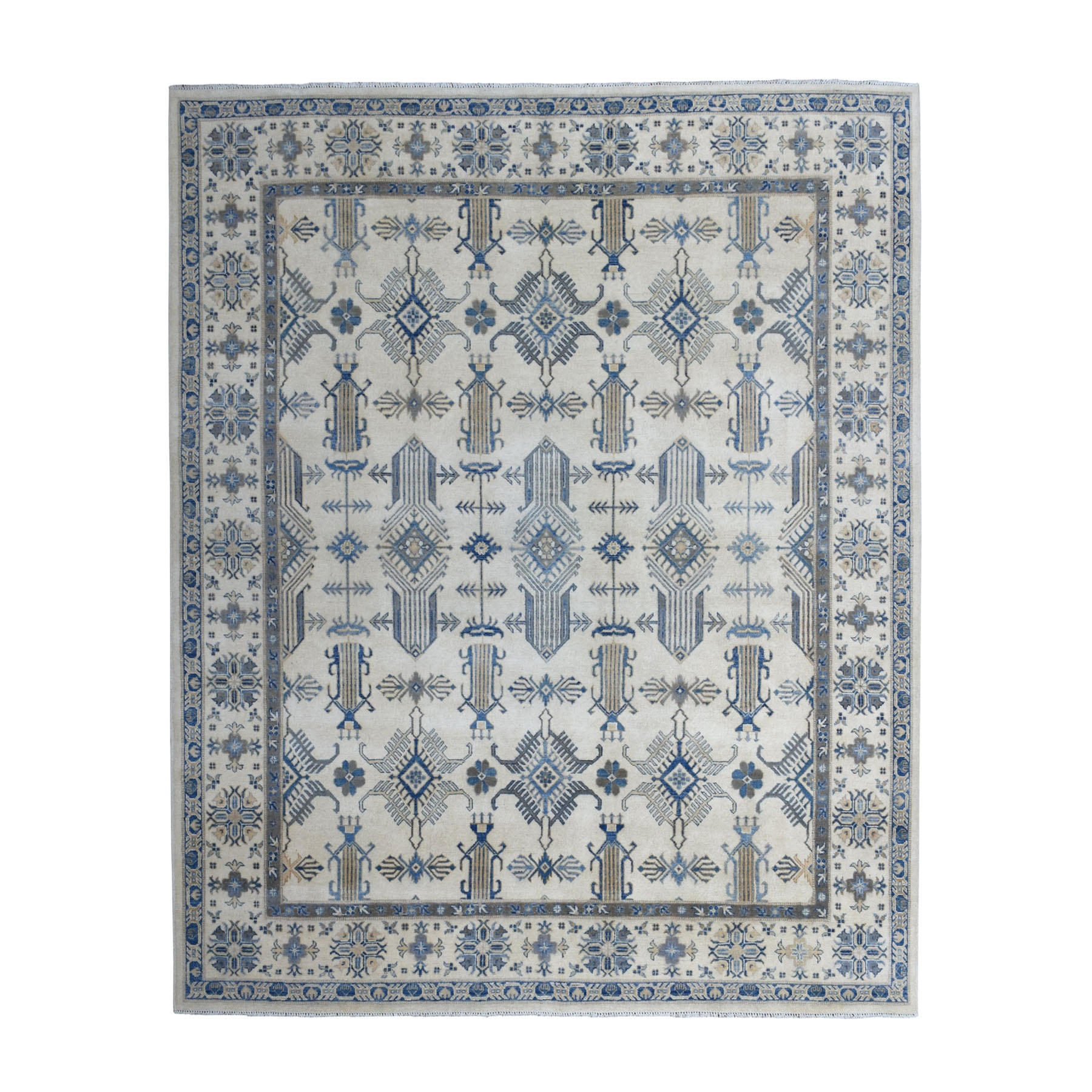 """8'3""""X9'5"""" Ivory Afghan Vintage Look Kazak All Over Design Pure Wool Hand Knotted Oriental Rug moaed8c6"""