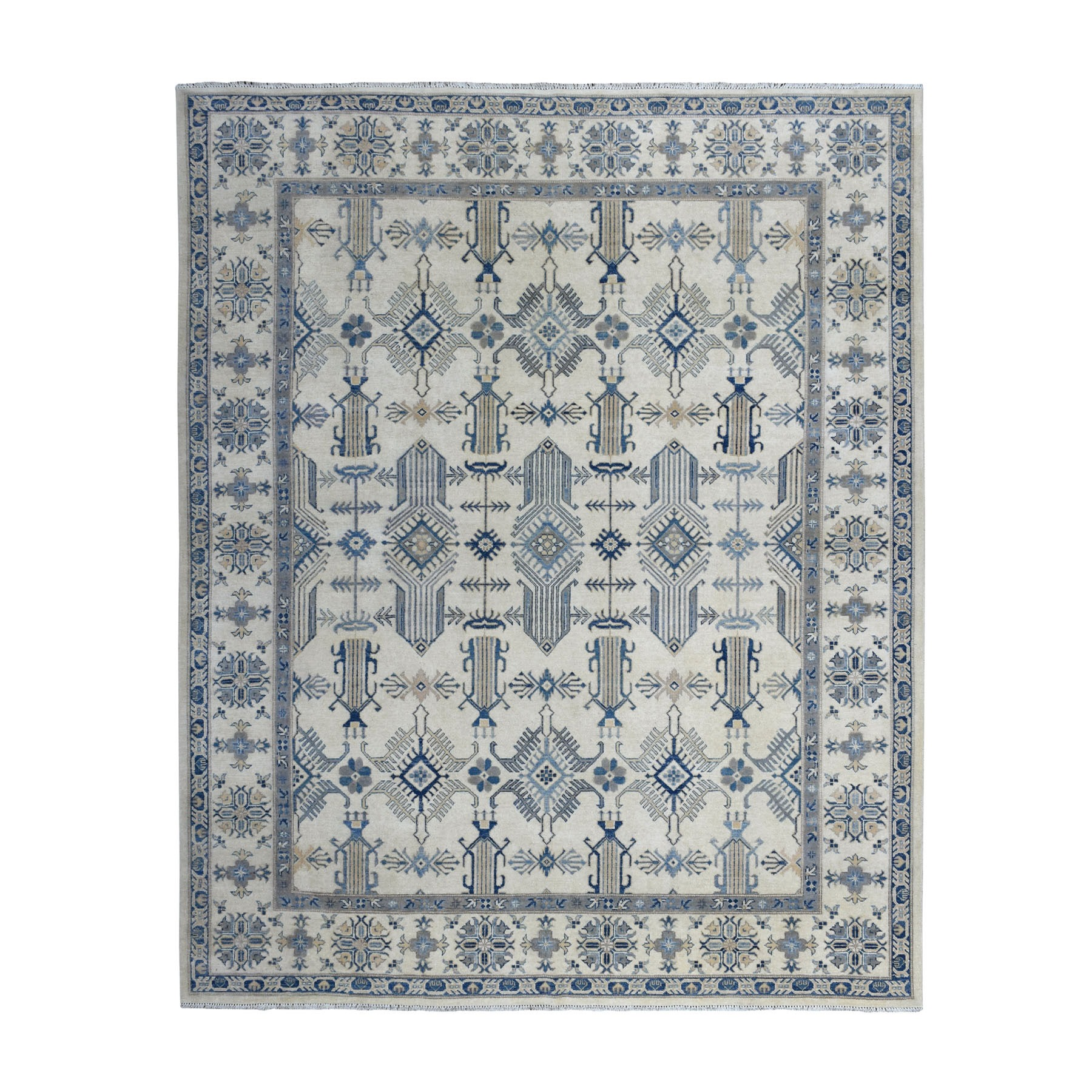 "8'1""X9'6"" Ivory Afghan Vintage Look Kazak Tribal Design Hand Knotted Pure Wool Oriental Rug moaed8c9"