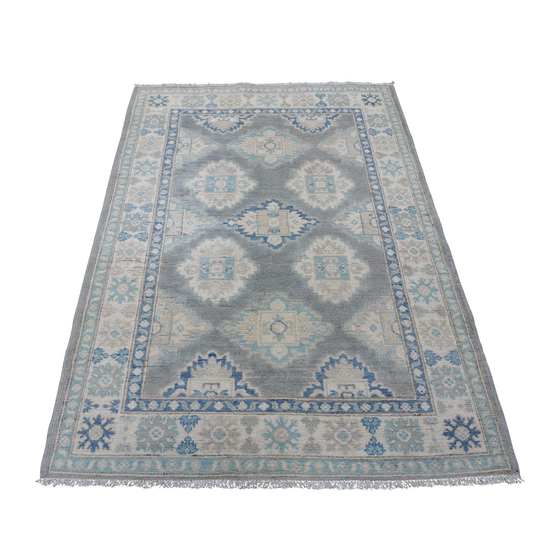 "3'10""X5'8"" Gray Tribal Design Natural Wool Vintage Look Kazak Hand Knotted Oriental Rug moaed8eb"