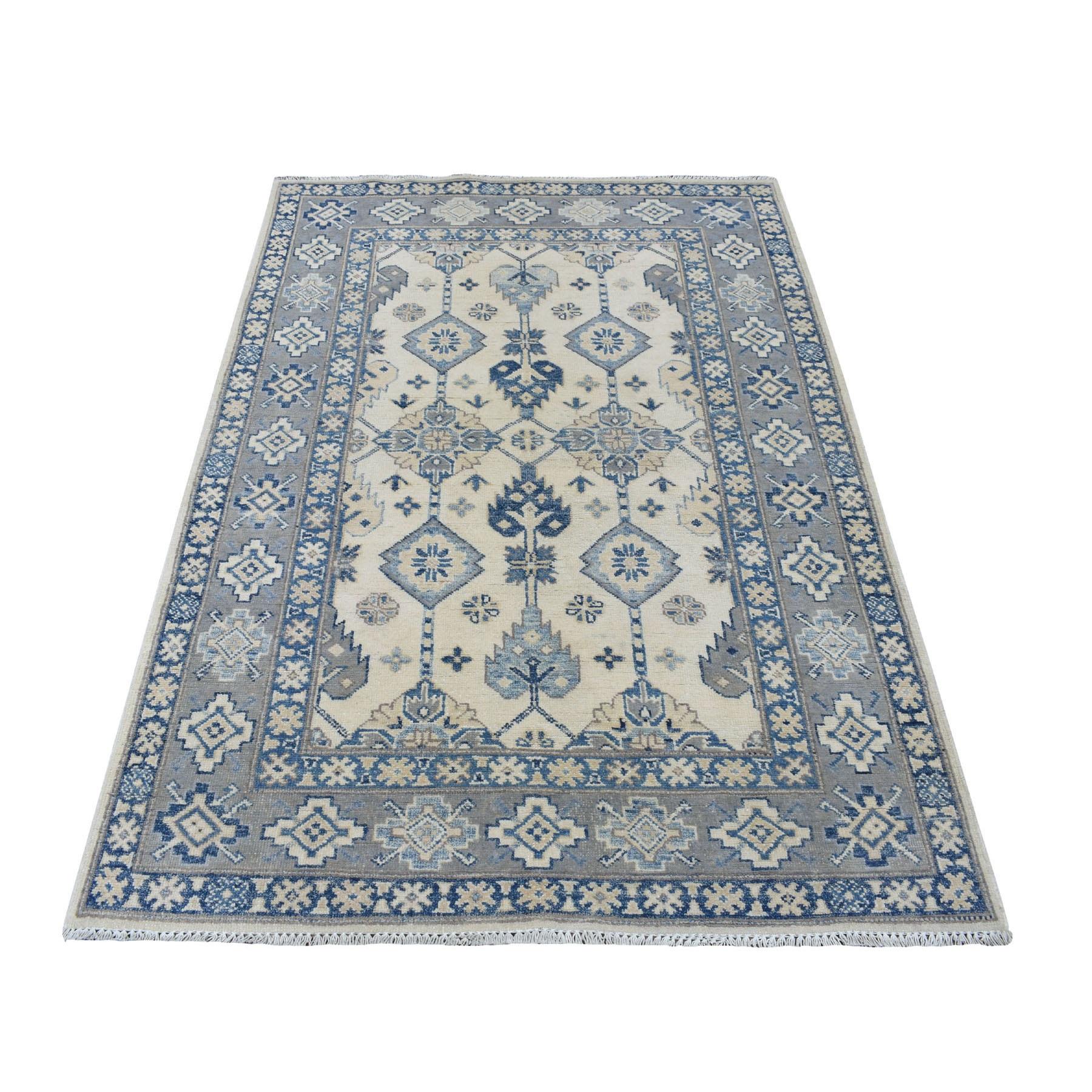 "3'10""X5'10"" Ivory Afghan Vintage Look Kazak Tribal Design Hand Knotted Pure Wool Oriental Rug moaed8ec"