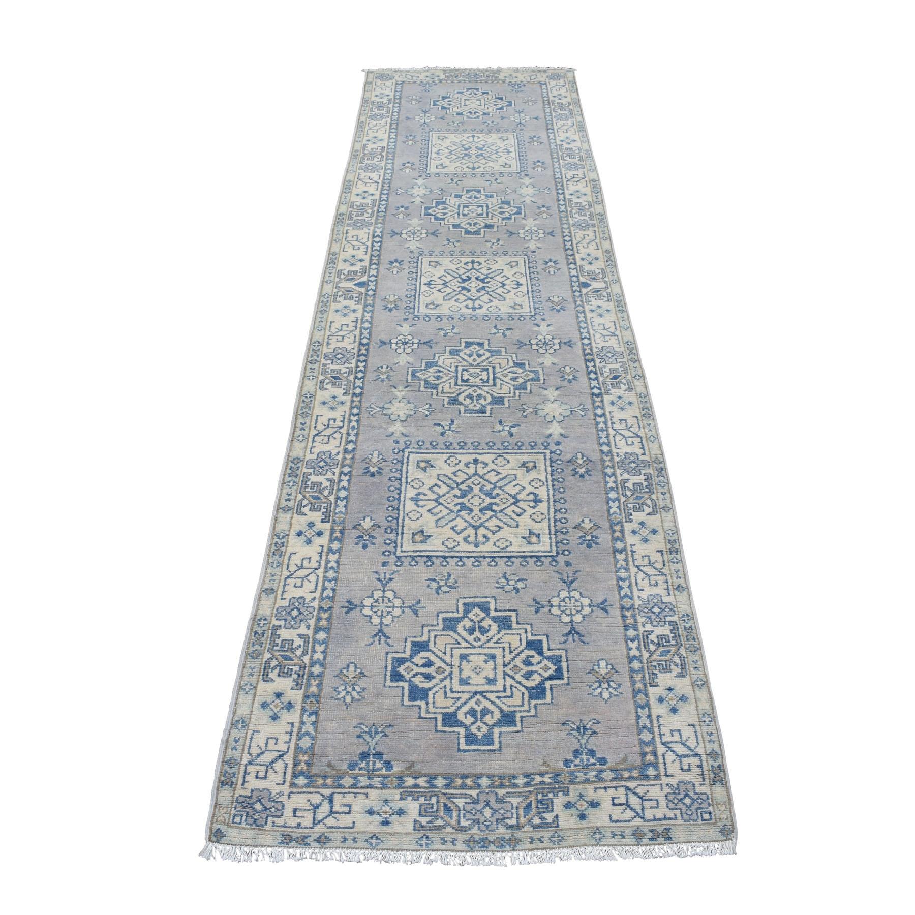 2-6 x9-7  Gray Wide Runner Natural Wool Afghan Vintage Look Kazak Hand Knotted Oriental Rug