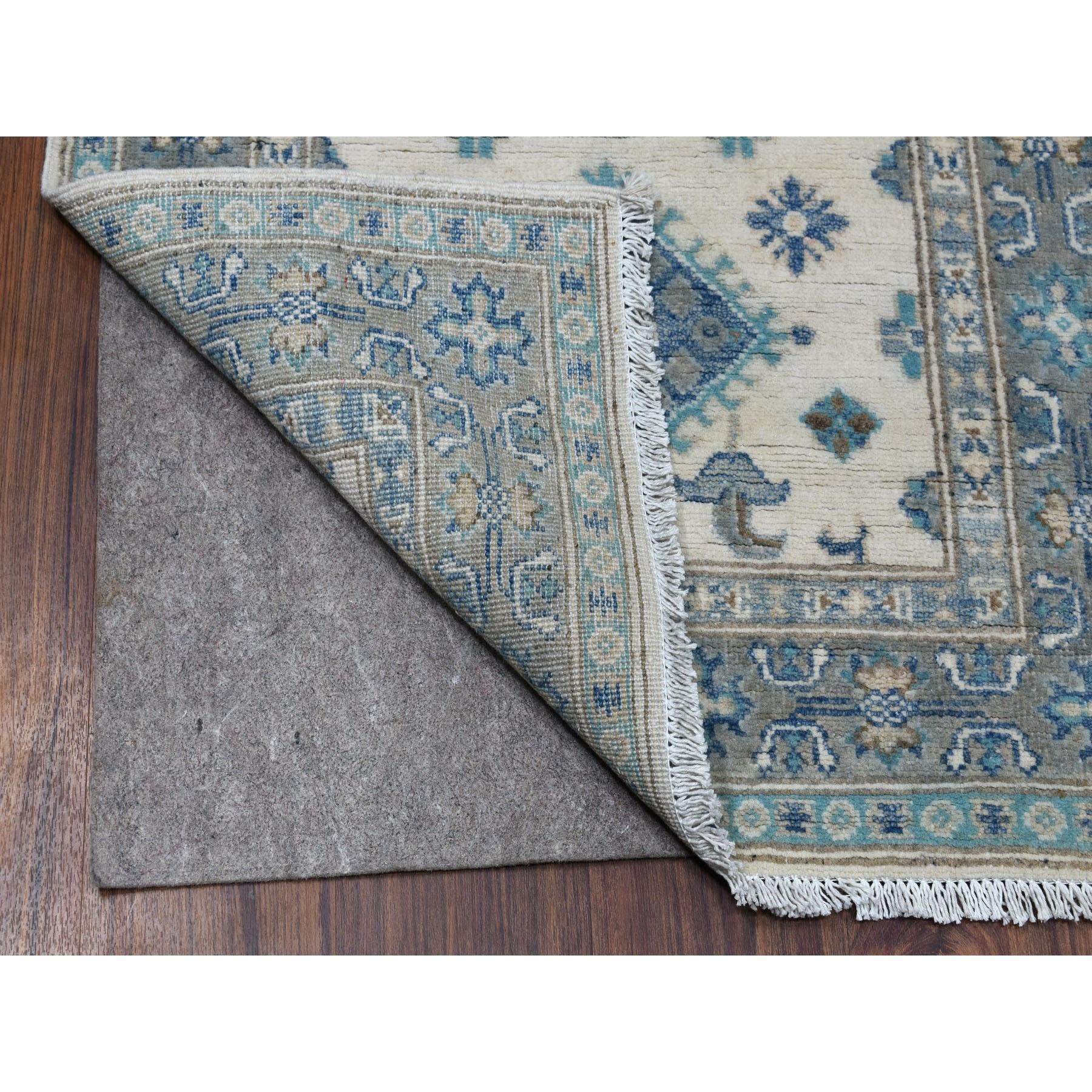 2-6 x9-6  Ivory Afghan Vintage Look Kazak Tribal Design Organic Wool Hand Knotted Runner Oriental Rug