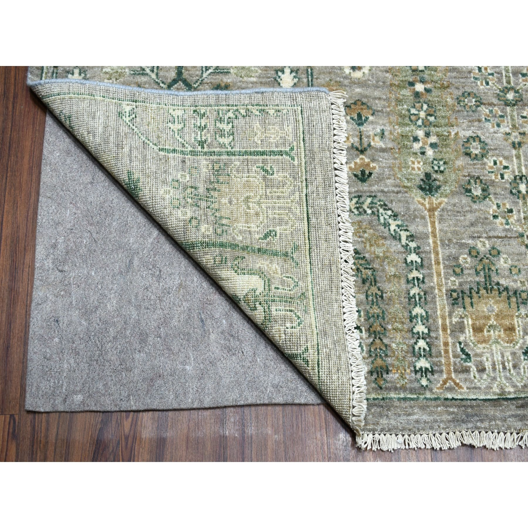 9-x11-6  Gray Willow and Cypress Tree Design Natural Wool Hand Knotted Oriental Rug