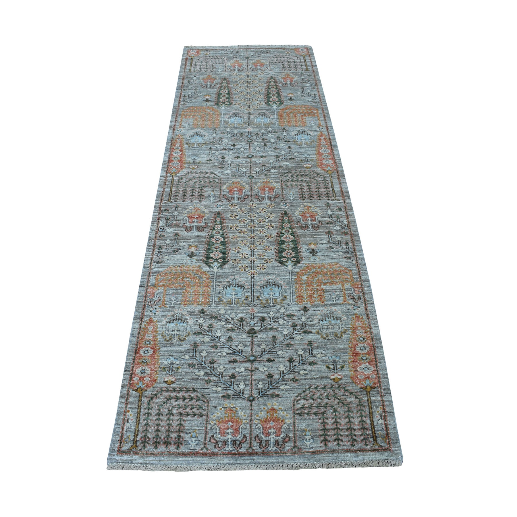 """2'6""""X8'1"""" Gray Willow And Cypress Tree Design Natural Wool Hand Knotted Runner Oriental Rug moaed87c"""