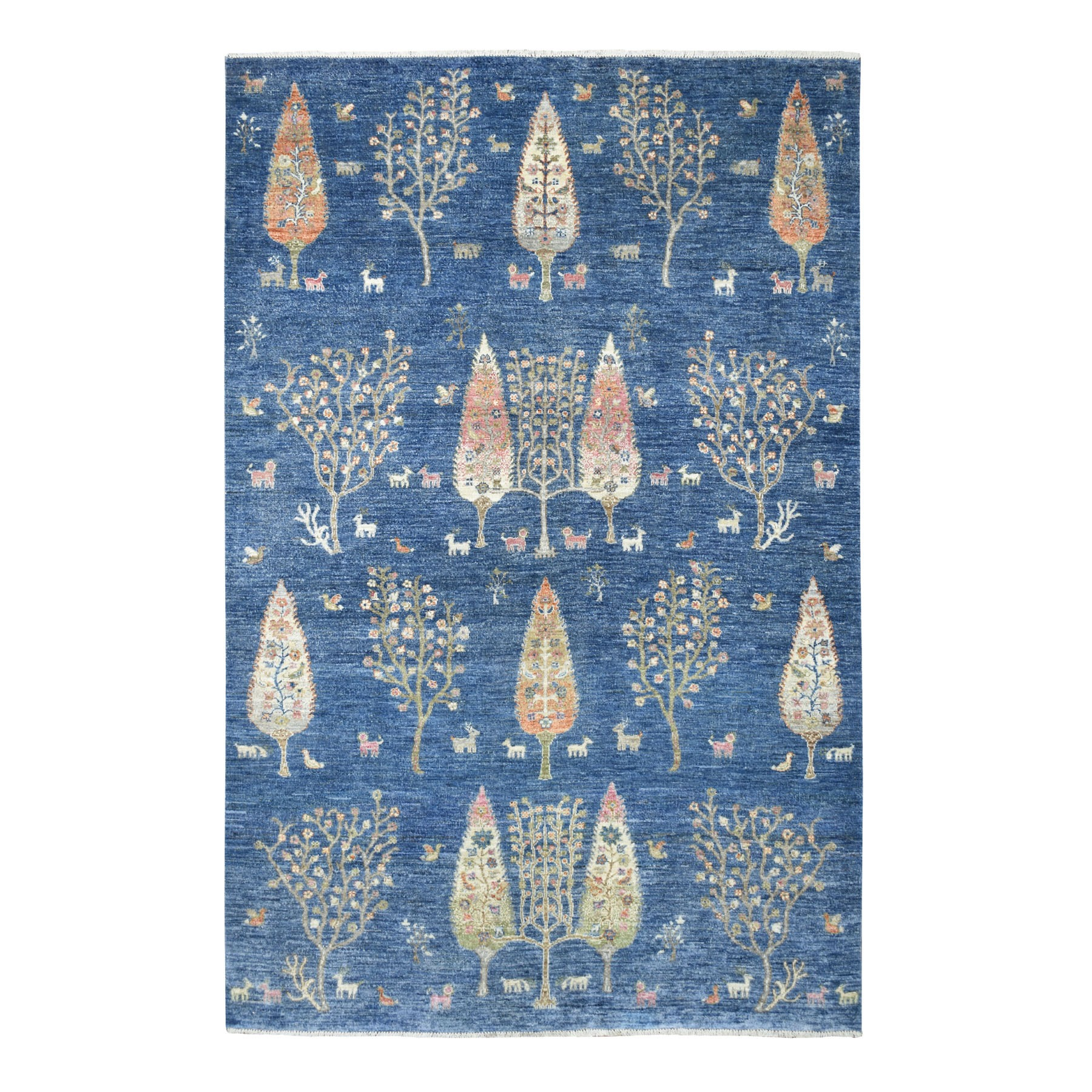 """6'X9'1"""" Blue Folk Art Willow And Cypress Tree Design Peshawar Hand Knotted Oriental Rug moaed87d"""