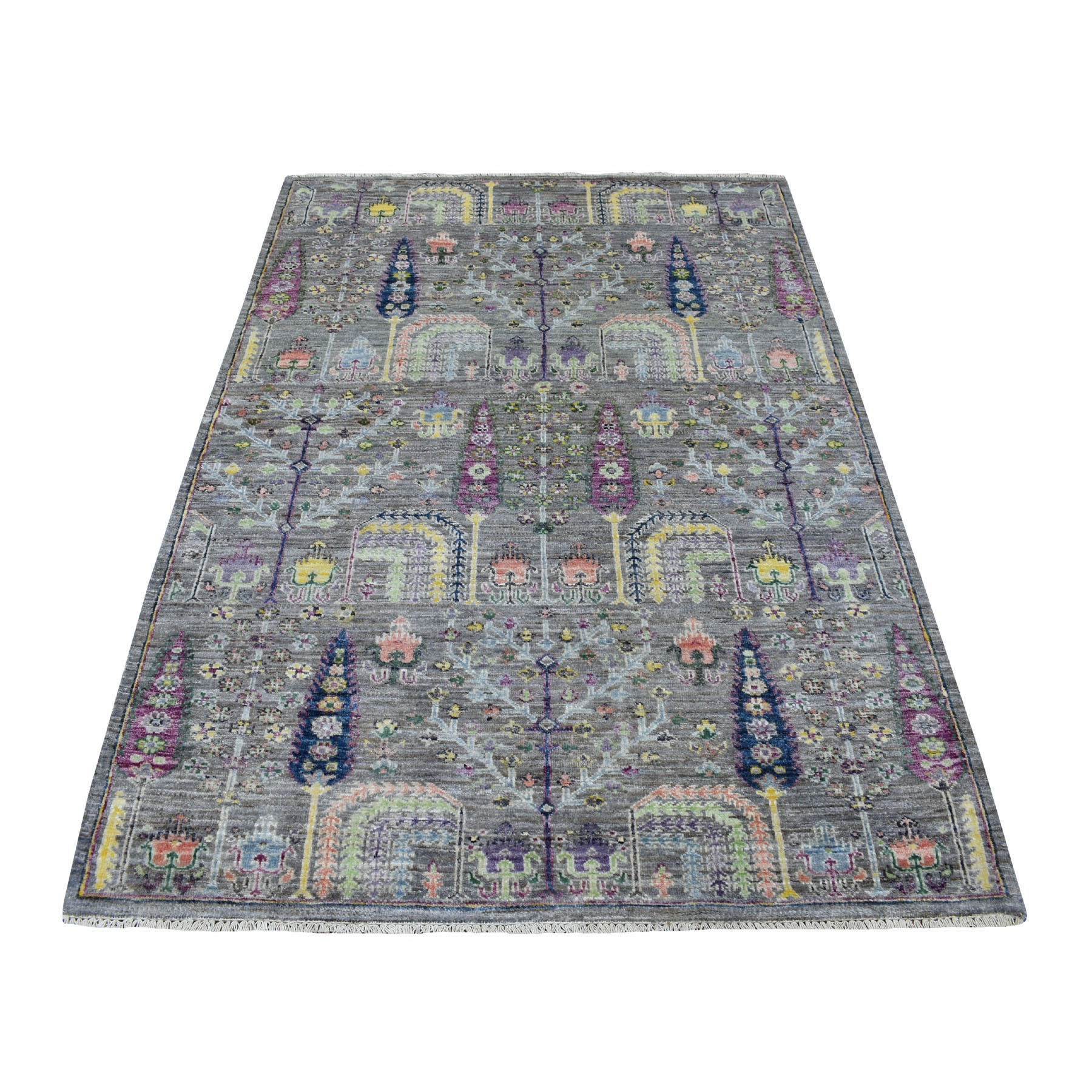 "4'1""X6' Gray Willow And Cypress Tree Design Natural Wool Hand Knotted Oriental Rug moaed877"