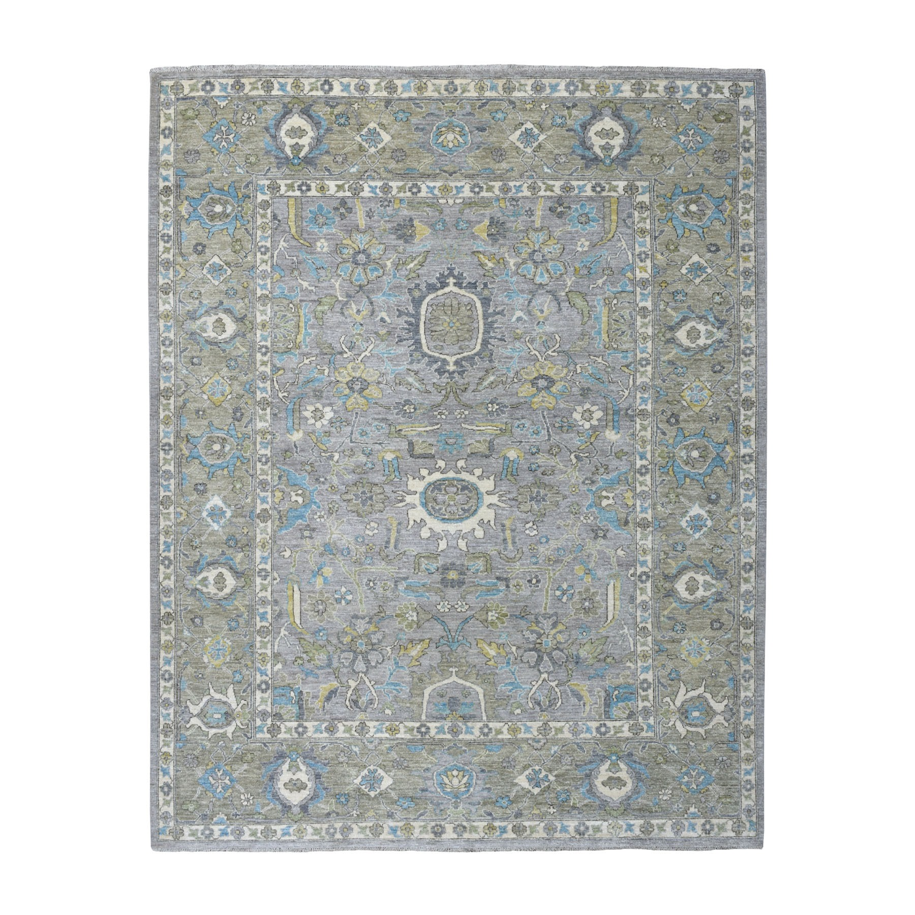 "8'x9'8"" Gray Afghan Peshawar Organic Wool Hand Knotted Oriental Rug 54906"