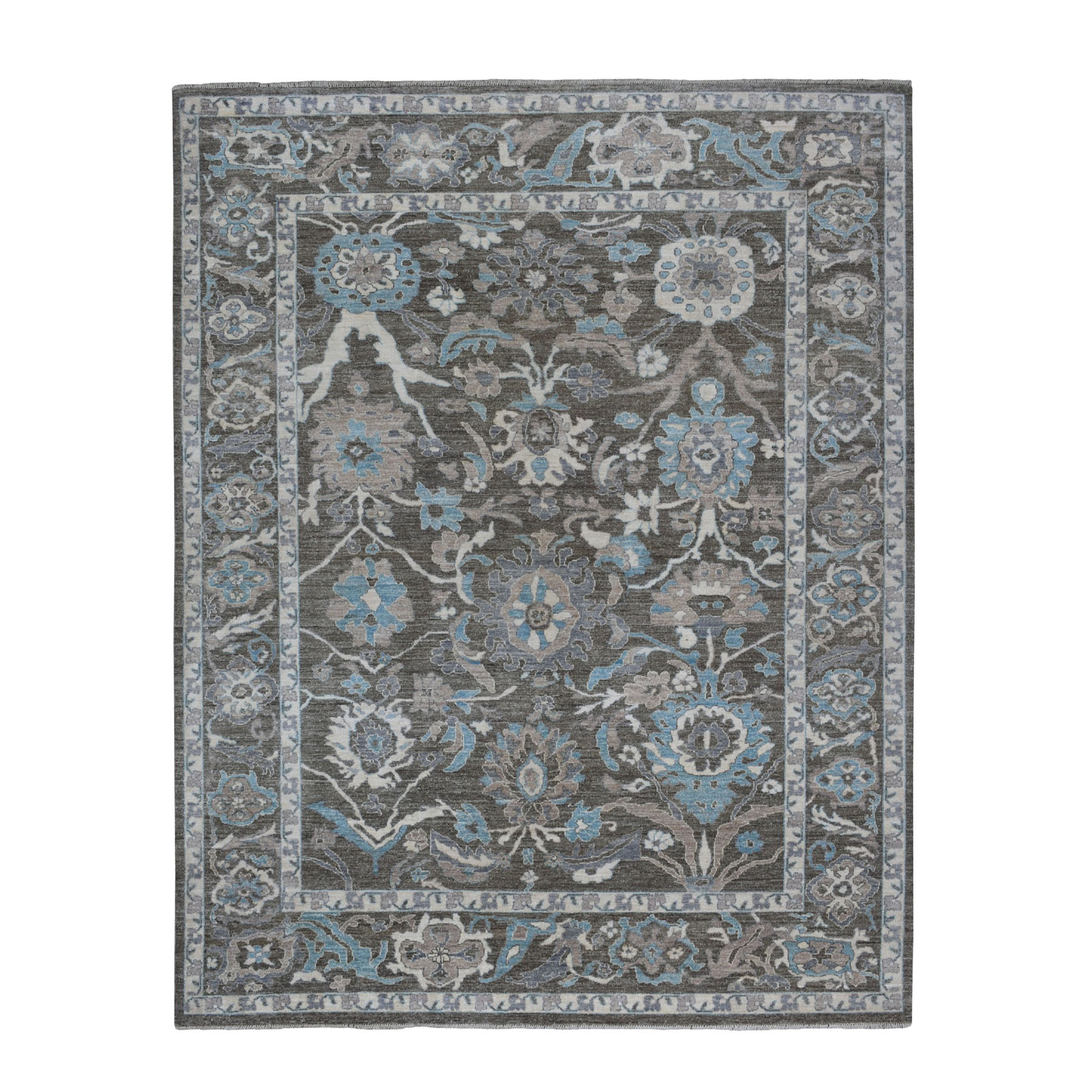 """8'X9'8"""" Charcoal Black Peshawar With Floral Design Hand Knotted Natural Wool Oriental Rug moaed907"""
