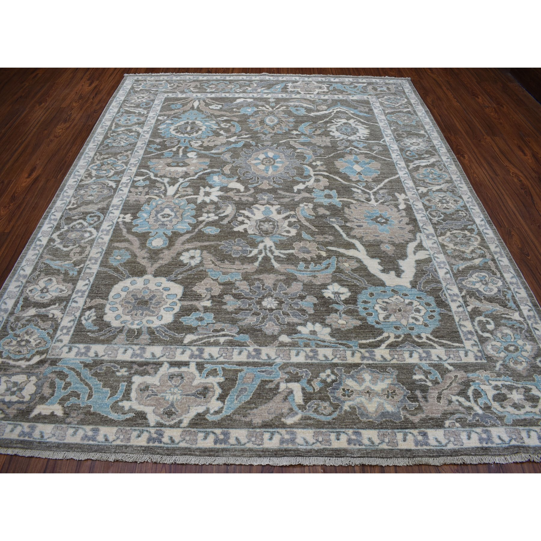 8-x9-8  Charcoal Black Peshawar with Floral Design Hand Knotted Natural Wool Oriental Rug