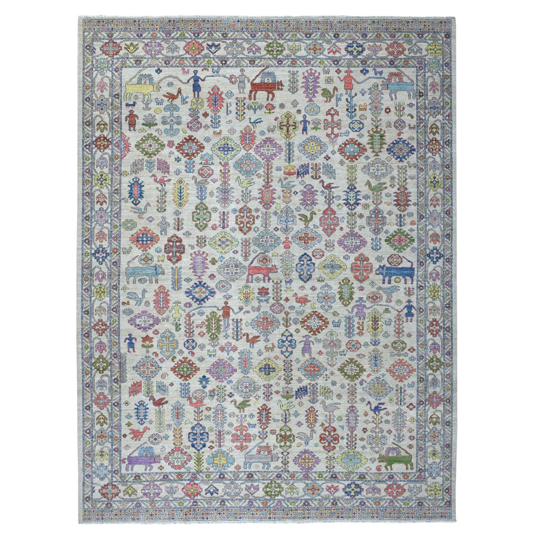 9'X12' Peshawar With Pop Of Color Figurines Natural Wool Hand Knotted Oriental Rug moaed909