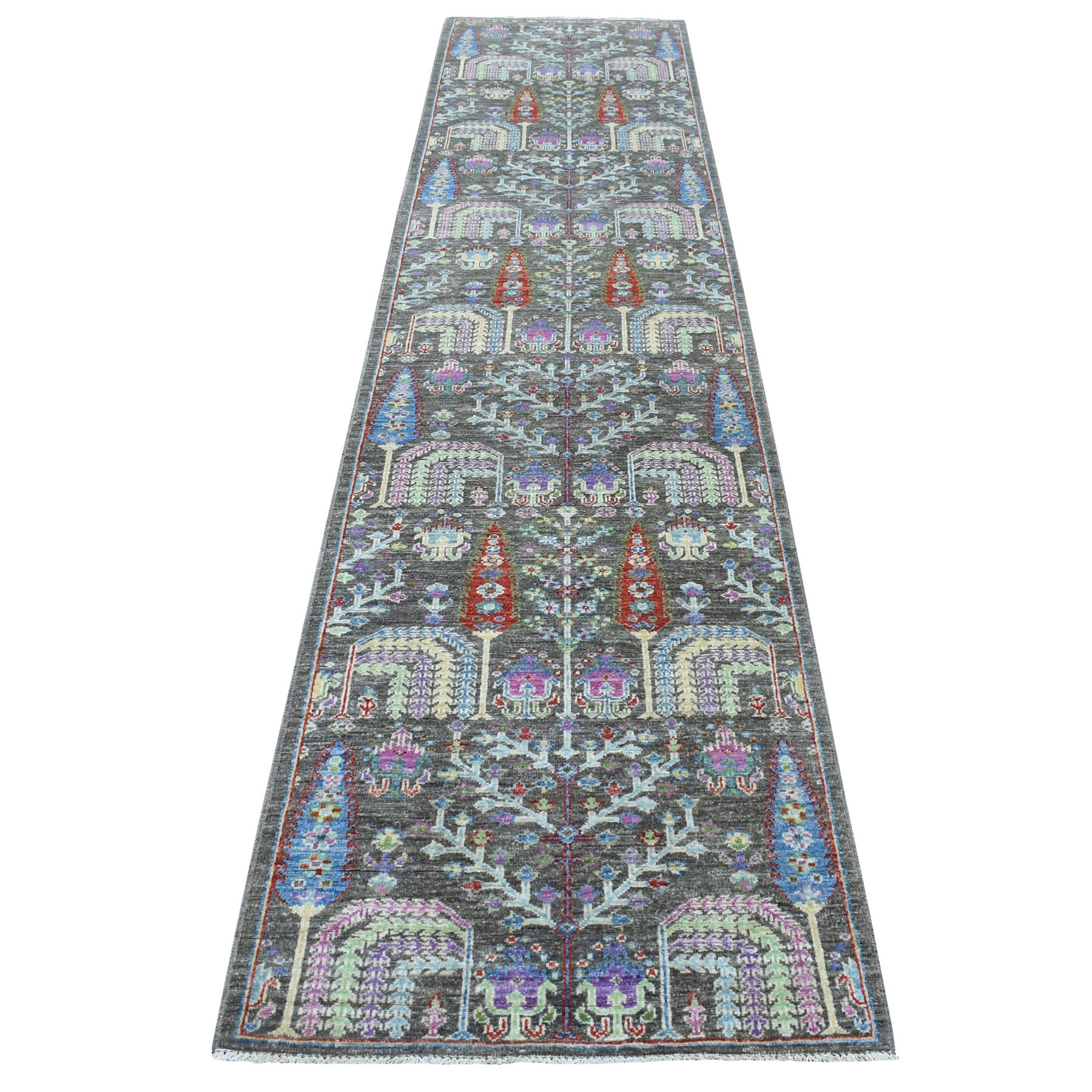 "2'7""X11'6"" Gray With Pop Of Color Willow And Cypress Tree Design Hand Knotted Runner Oriental Rug moaed9a7"